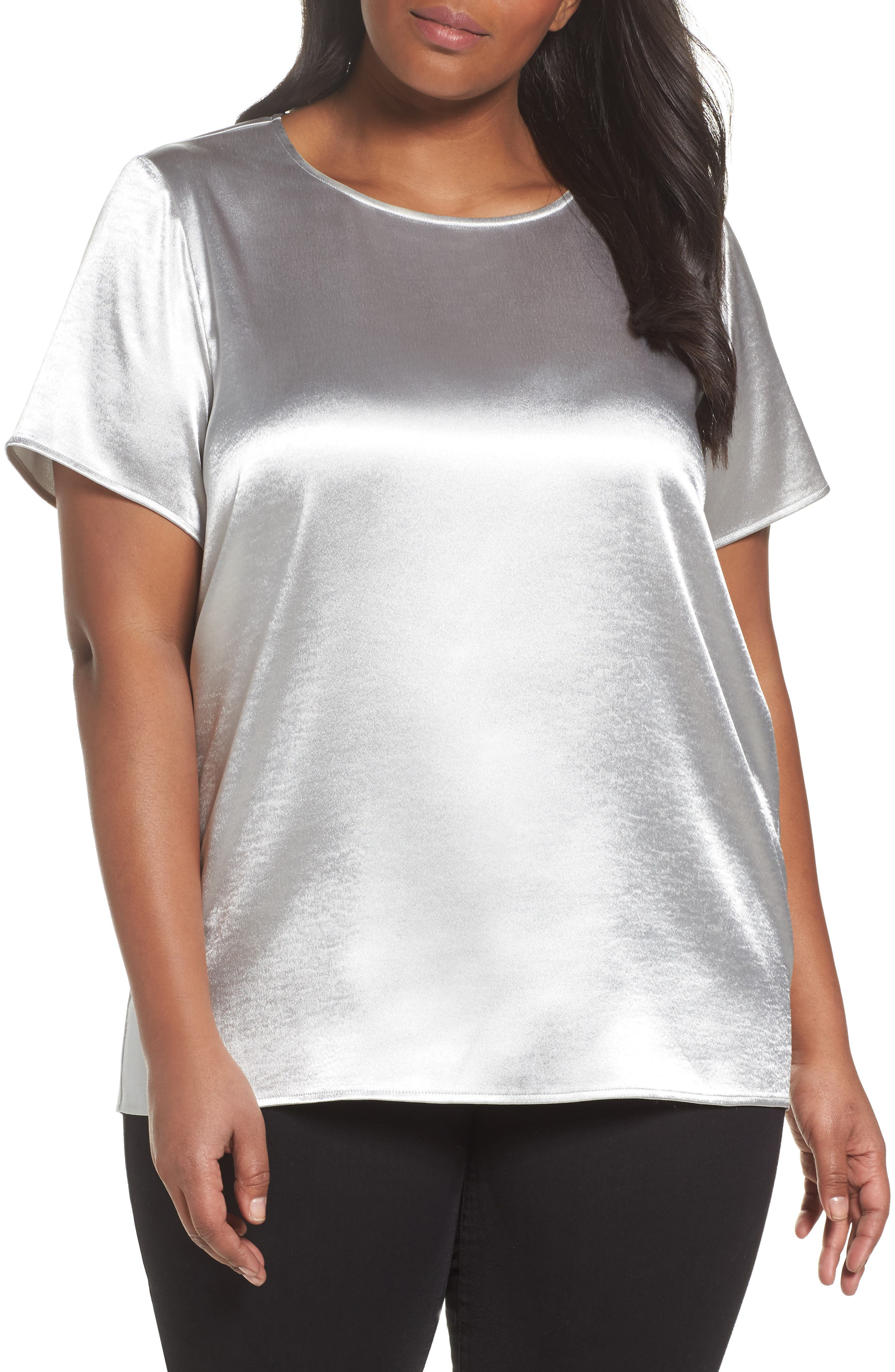 Rumpled Satin Blouse,                         Main,                         color, Silver Mink