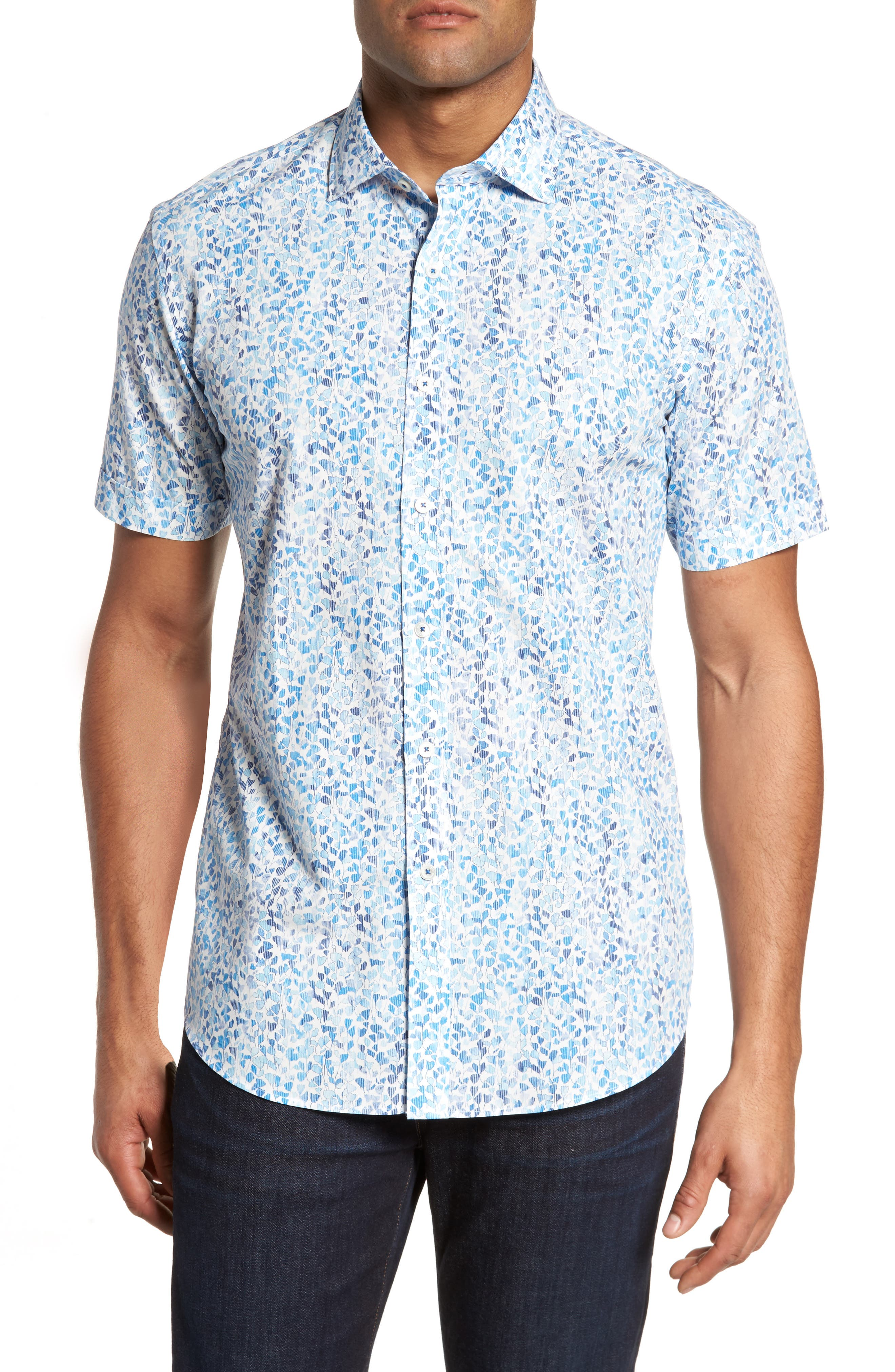Shaped Fit Print Sport Shirt,                             Main thumbnail 1, color,                             Classic Blue