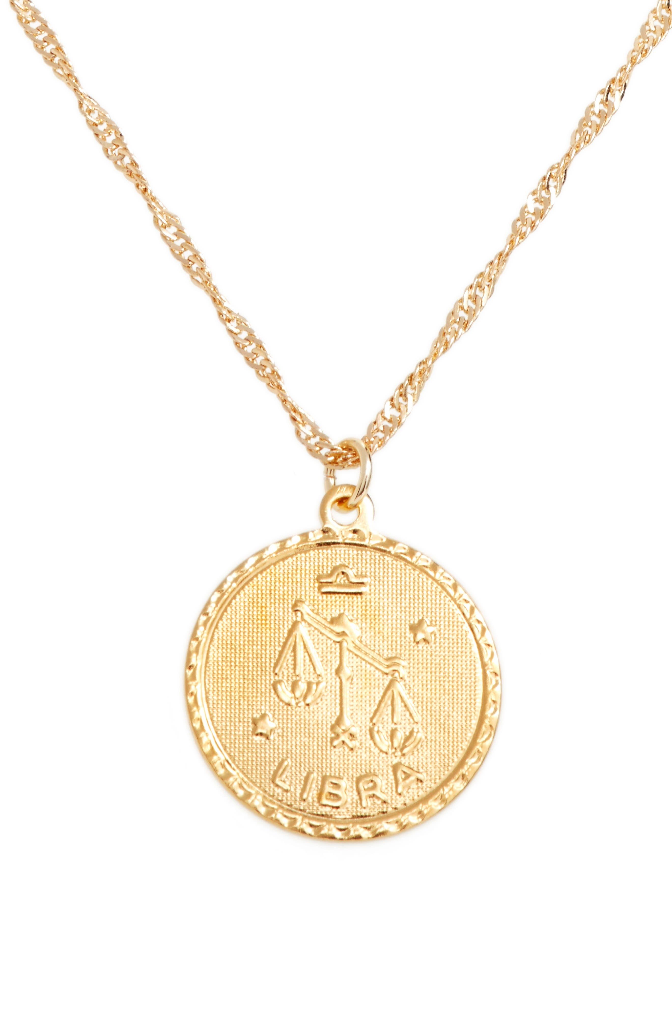 Ascending Libra Pendant Necklace,                             Main thumbnail 1, color,                             Yellow Gold
