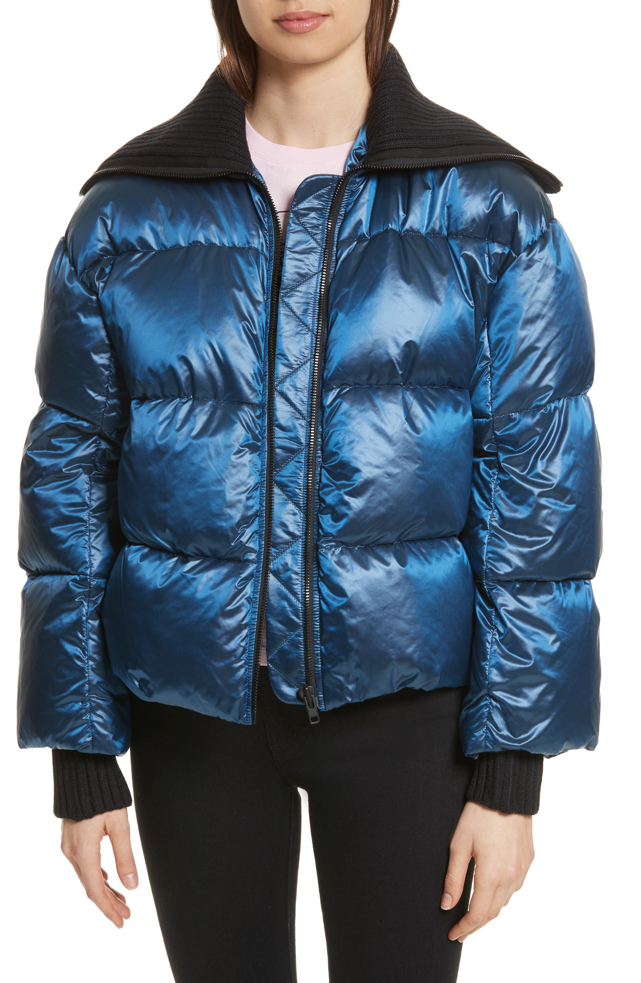 Quilted Down Bomber,                         Main,                         color, Navy Blue