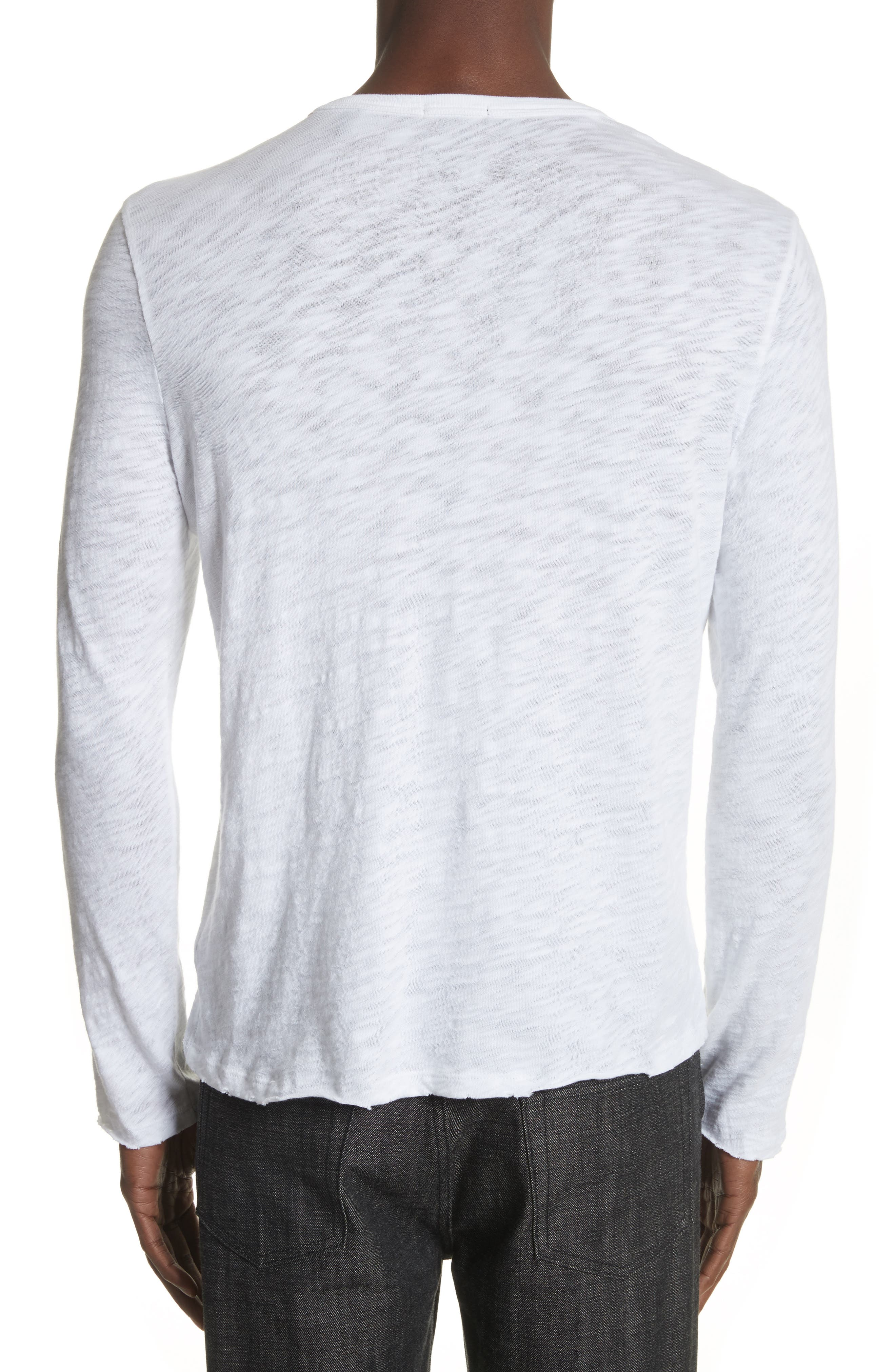 Destroyed Long Sleeve T-Shirt,                             Alternate thumbnail 2, color,                             White