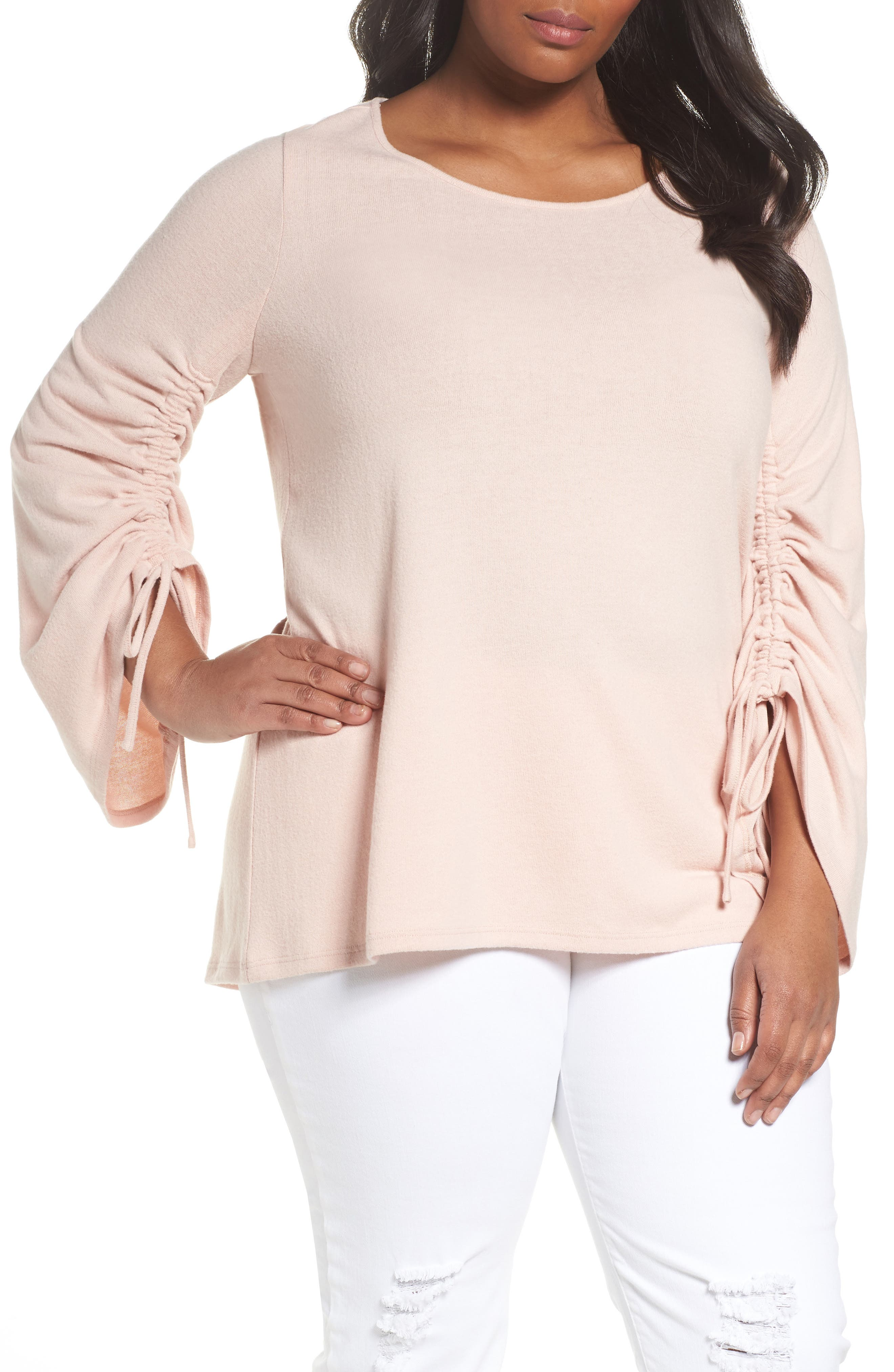 Drawstring Sleeve Top,                         Main,                         color, Rose Buff