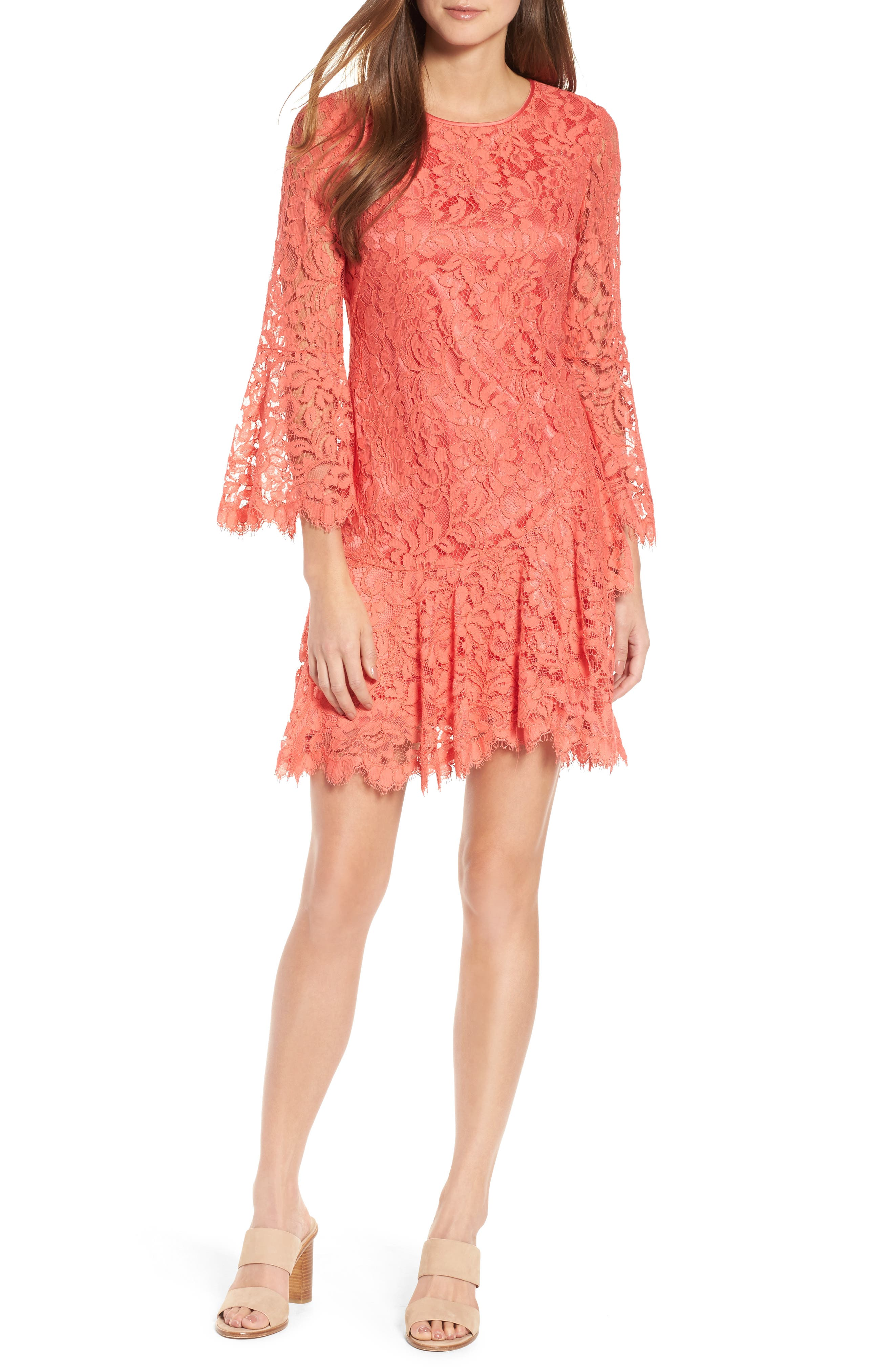Lace Bell Sleeve Dress,                         Main,                         color, Coral