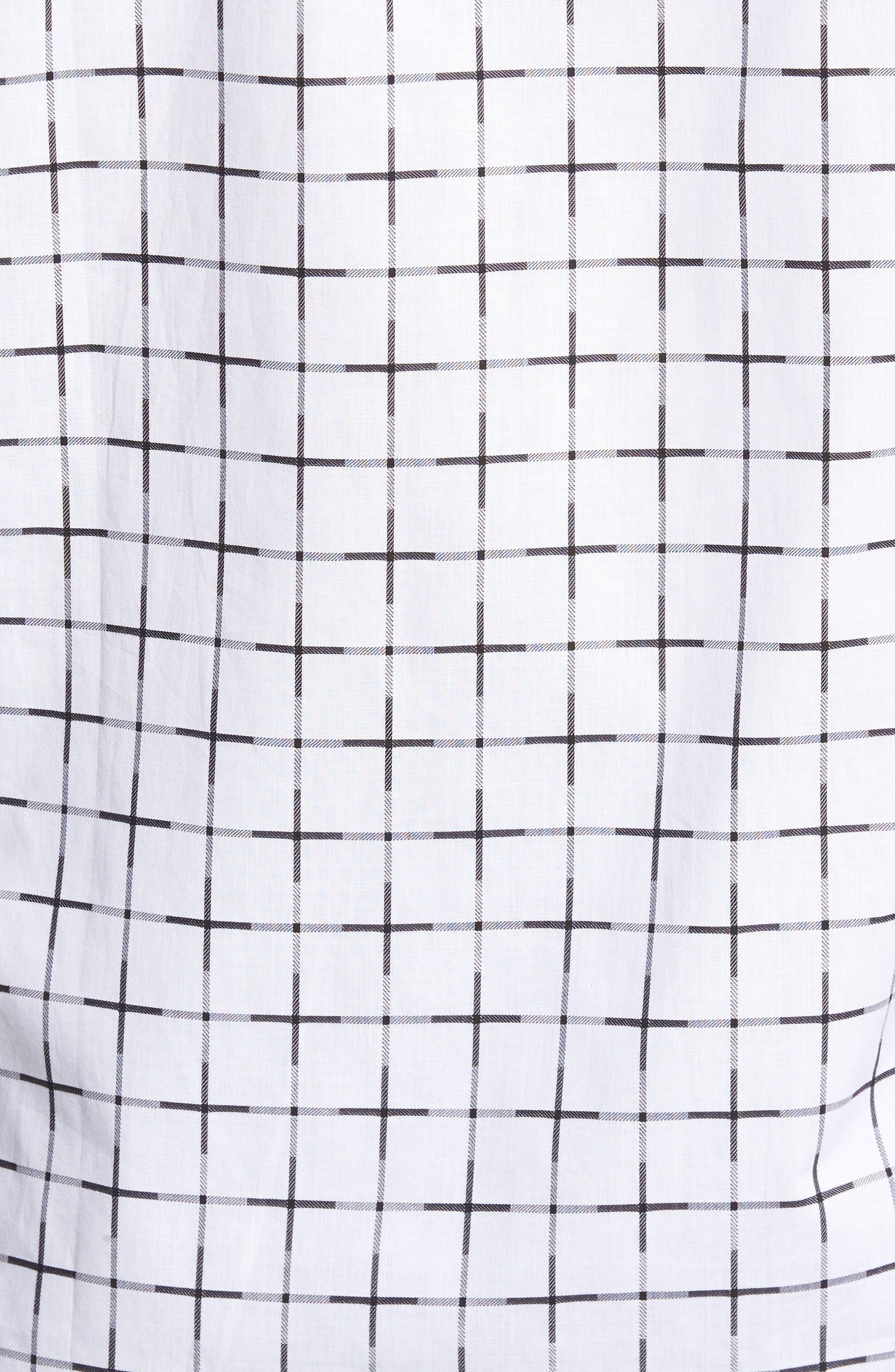 Shaped Fit Print Sport Shirt,                             Alternate thumbnail 5, color,                             White