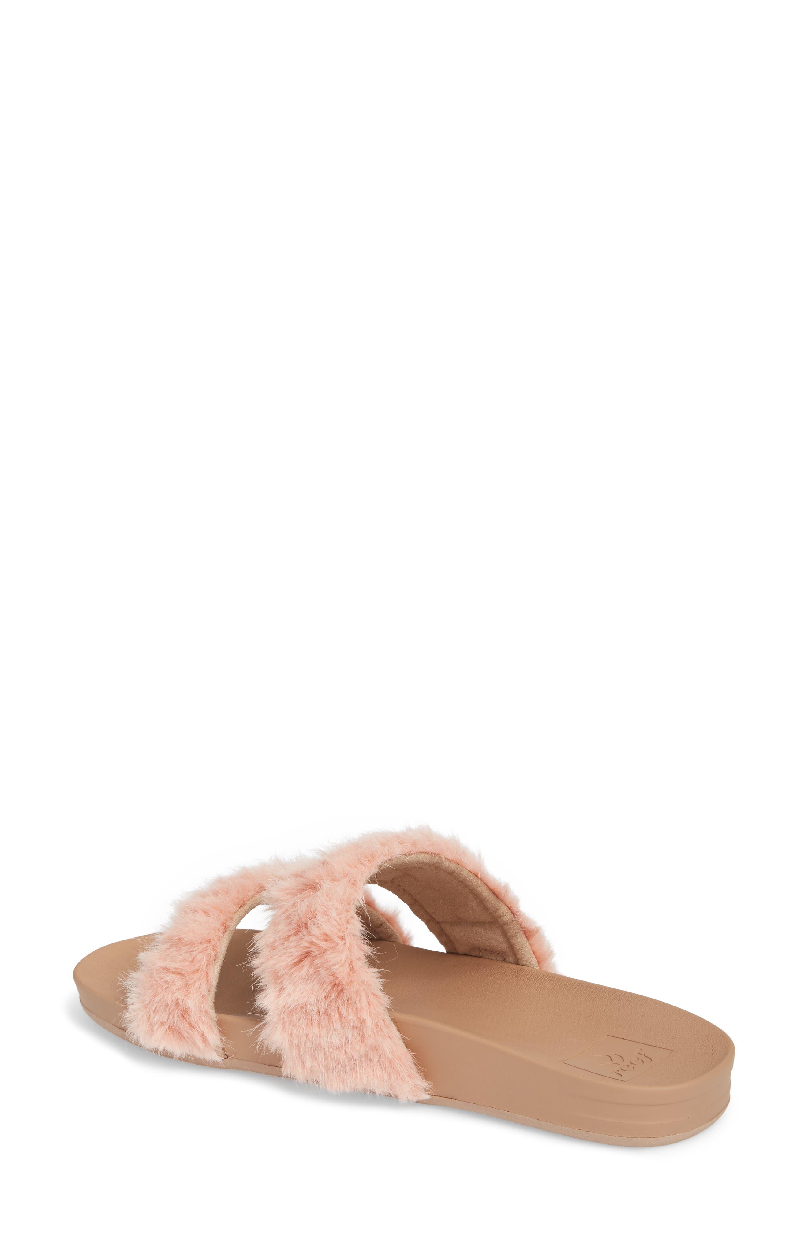 Bounce Faux Fur Double Strap Slide Sandal,                             Alternate thumbnail 2, color,                             Blush