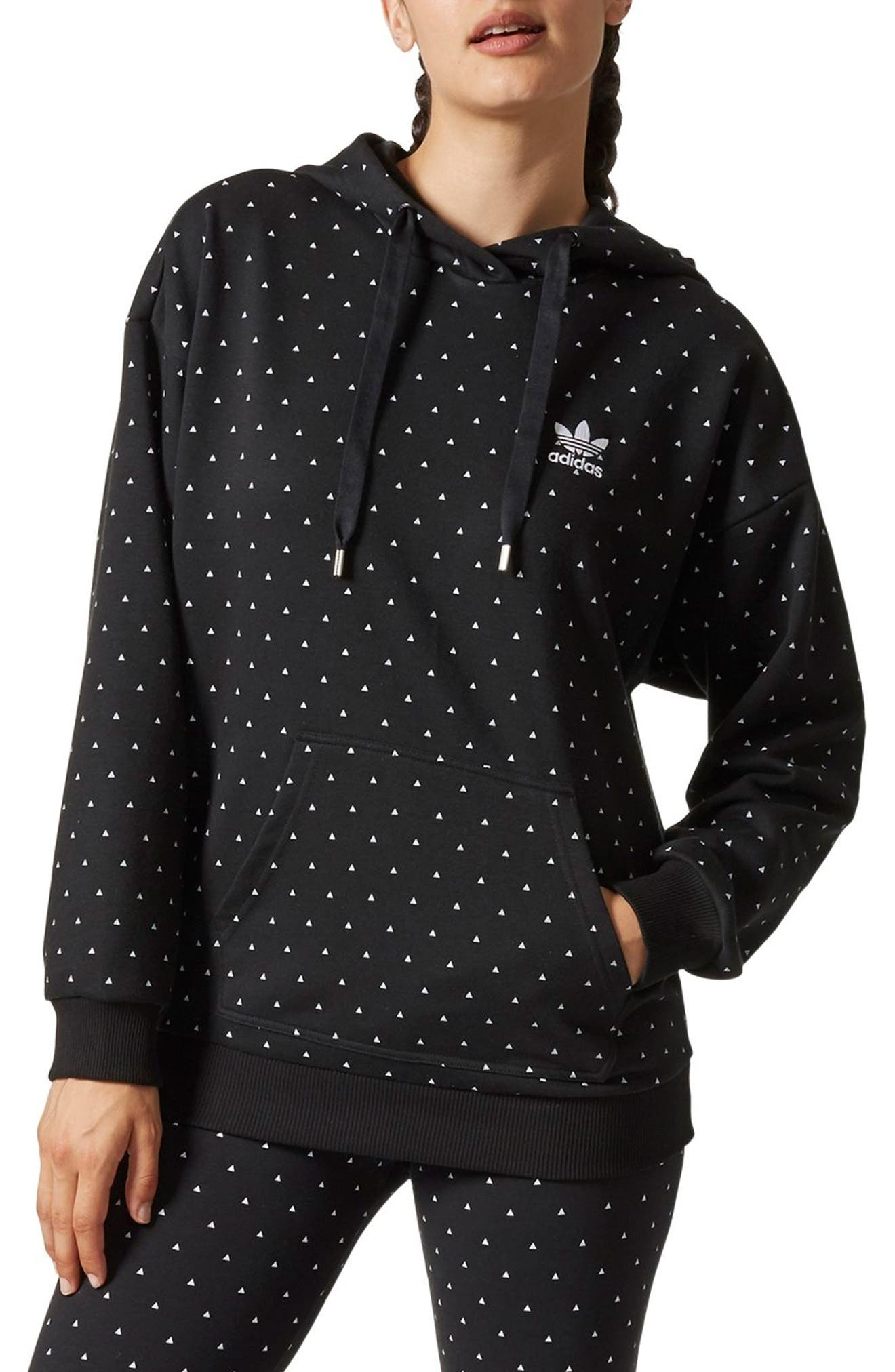 Main Image - adidas Originals by Pharrell Williams HU Hiking Logo Hooded Sweatshirt