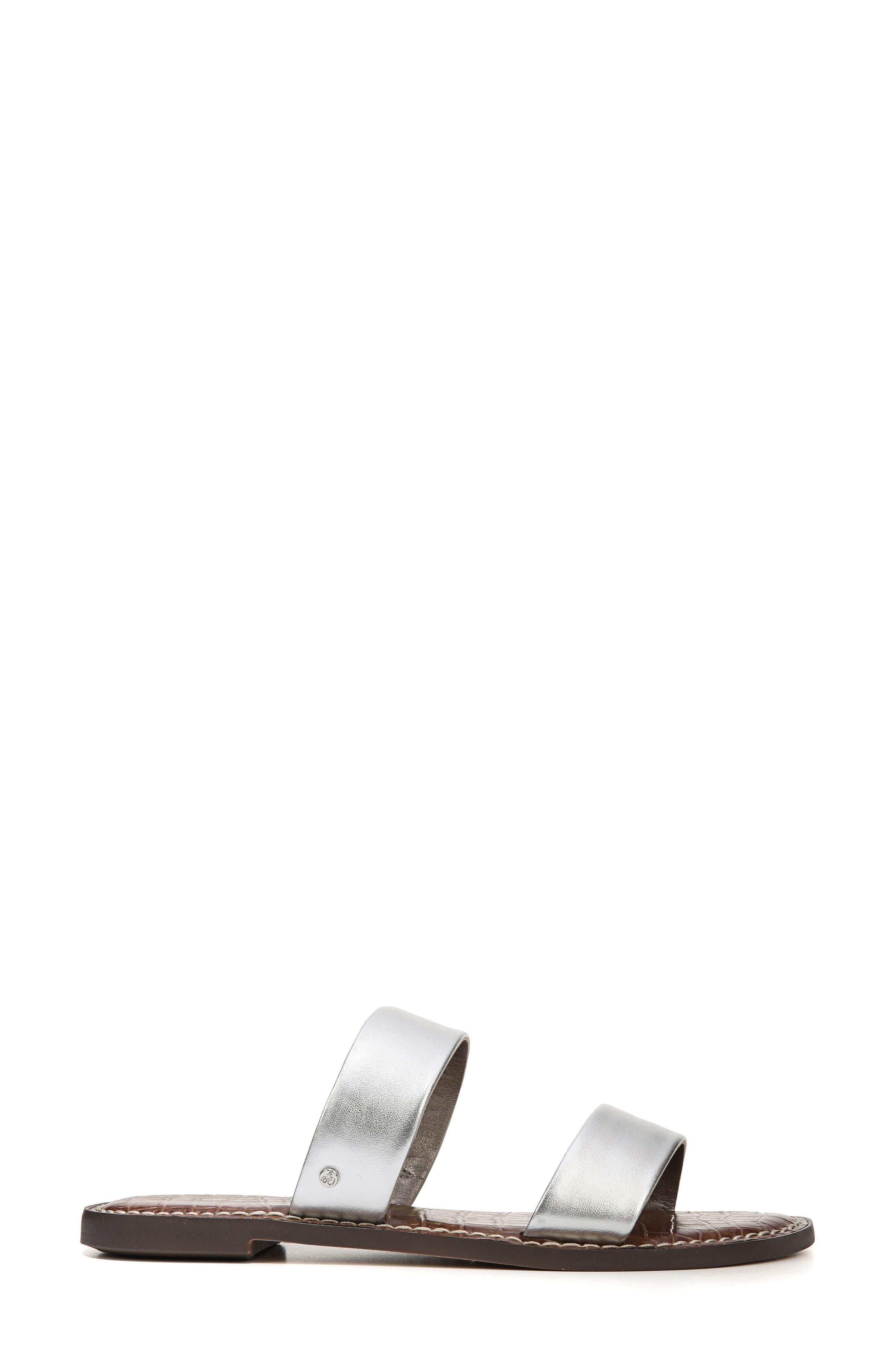 Gala Two Strap Slide Sandal,                             Alternate thumbnail 3, color,                             Silver Leather