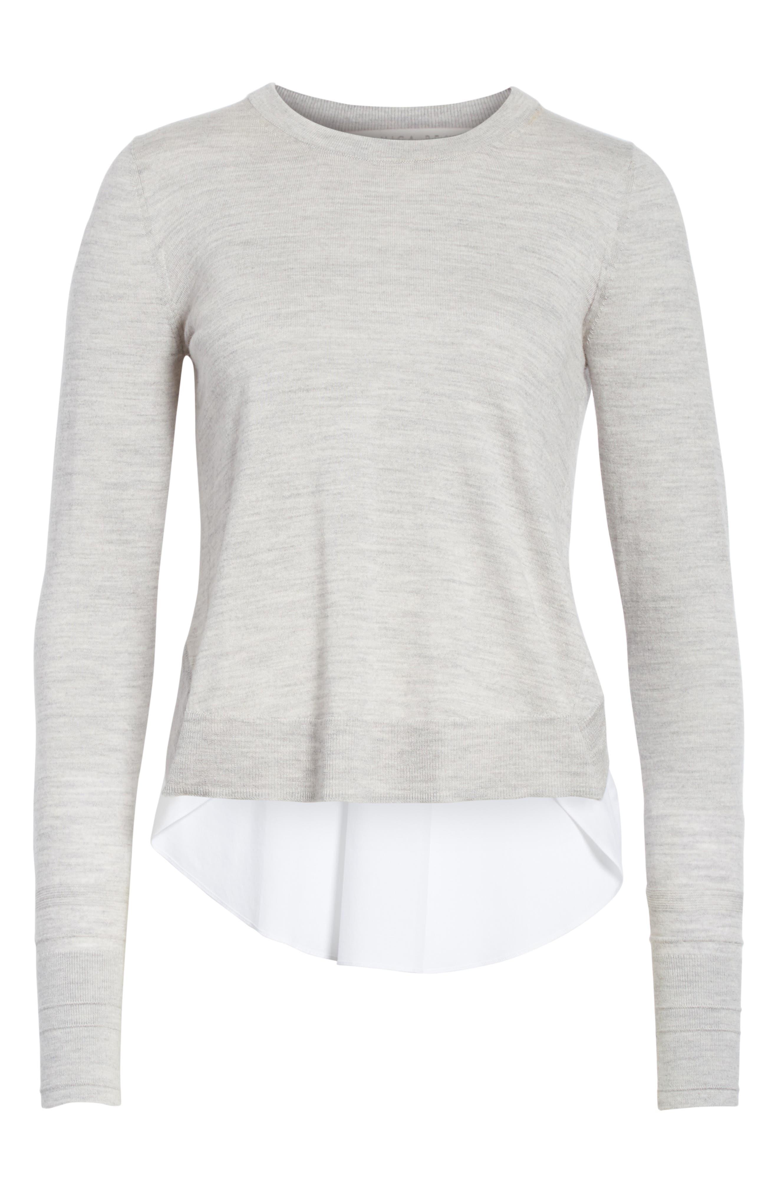 Alma Mixed Media Sweater,                             Alternate thumbnail 6, color,                             Heather Grey