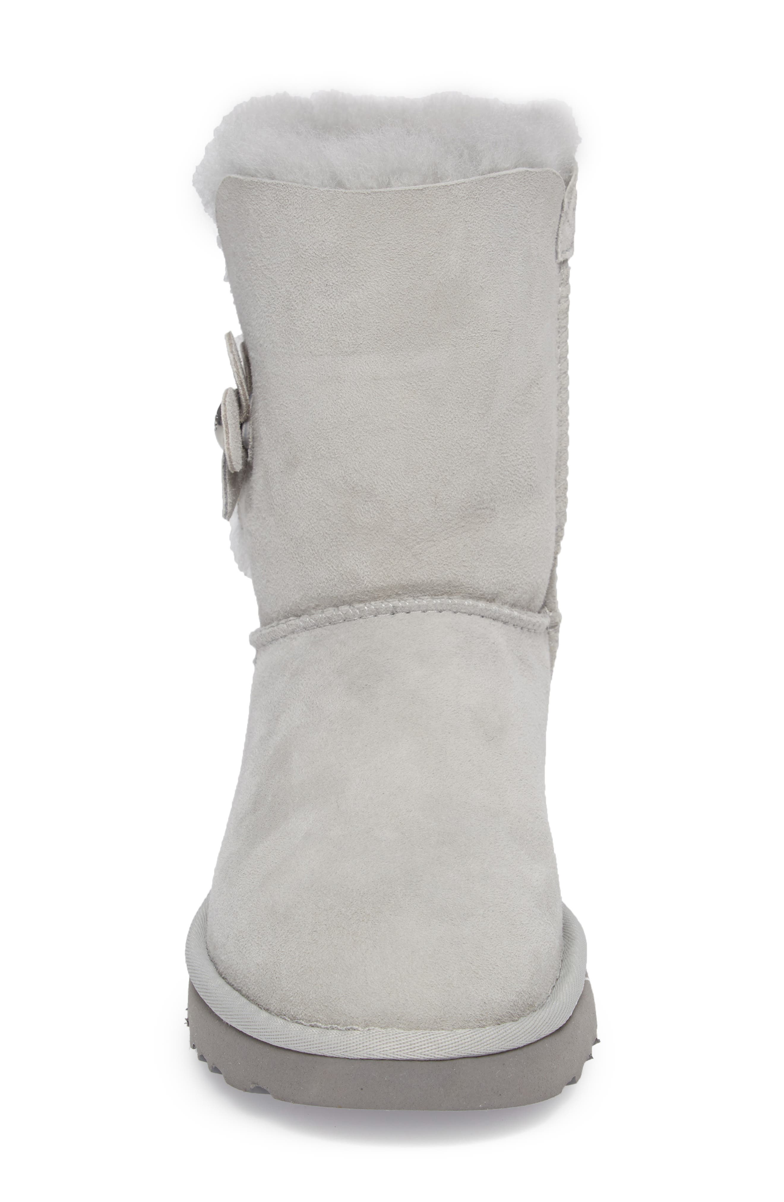 Bailey Button Poppy Genuine Shearling Boot,                             Alternate thumbnail 4, color,                             Grey Violet