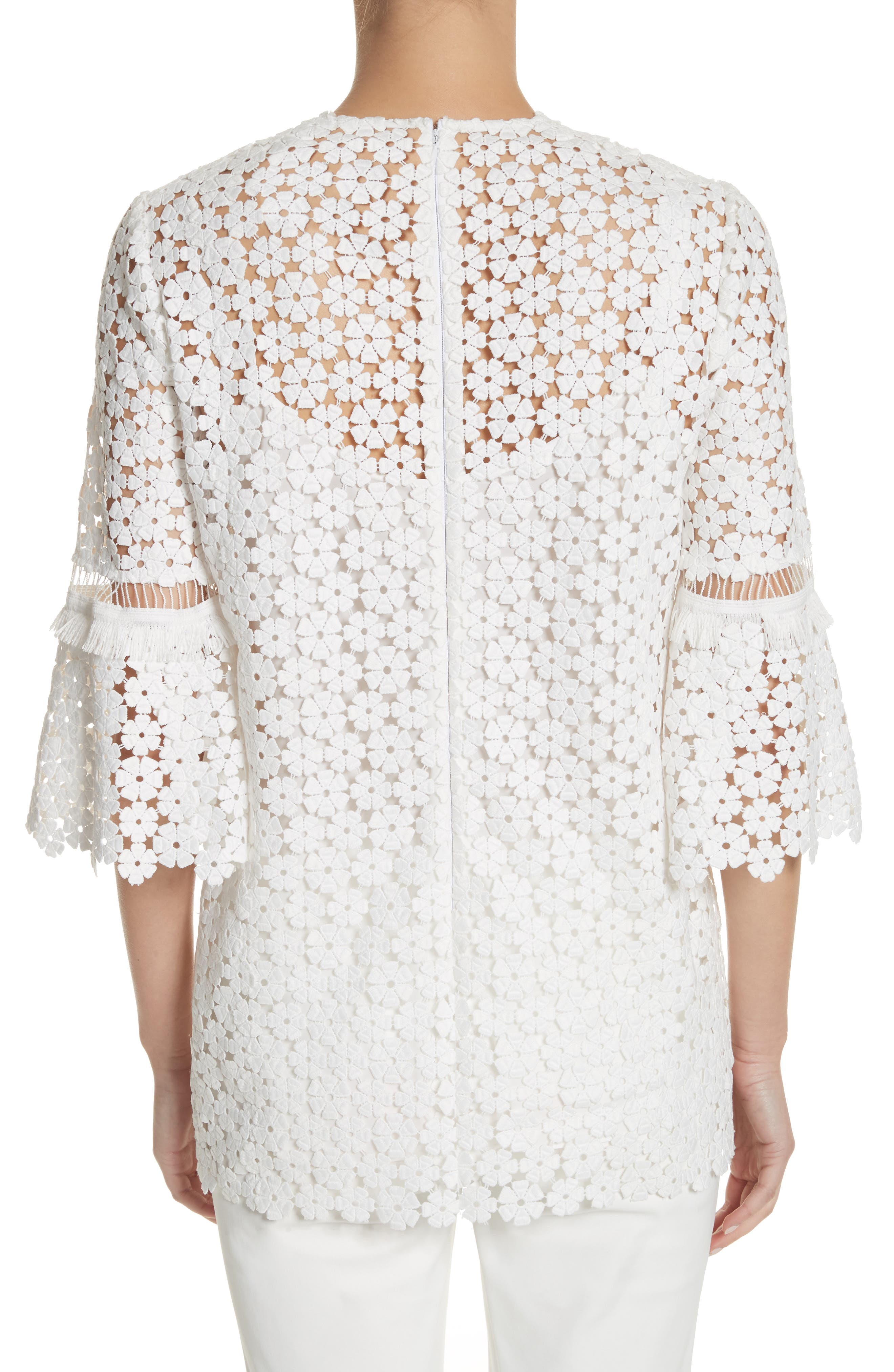 Flare Sleeve Lace Top,                             Alternate thumbnail 2, color,                             White
