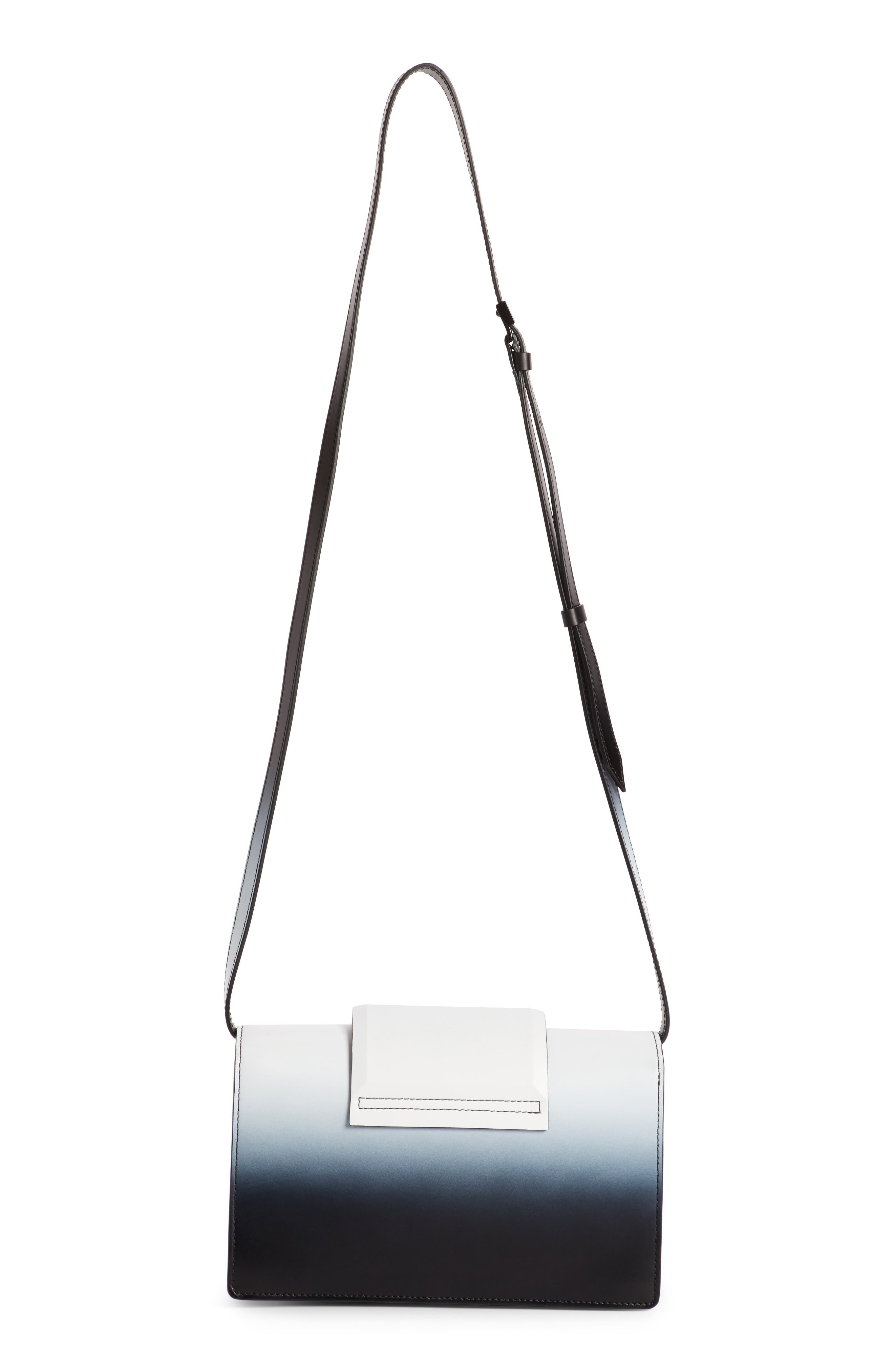 Small Infinity Dégradé Calfskin Shoulder Bag,                             Alternate thumbnail 2, color,                             Black/ White