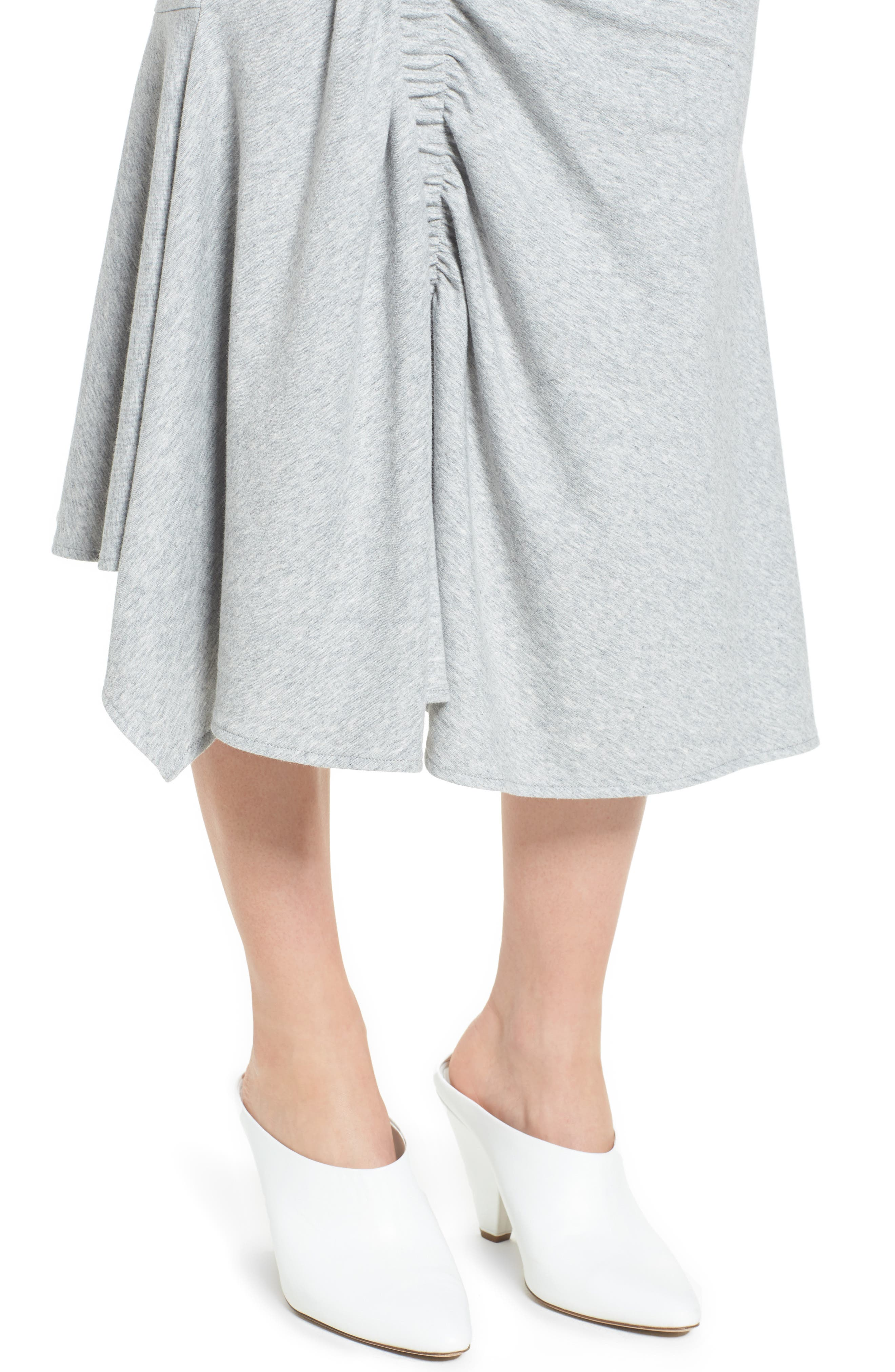 Ruched Fluted Midi Skirt,                             Alternate thumbnail 4, color,                             Grey Heather