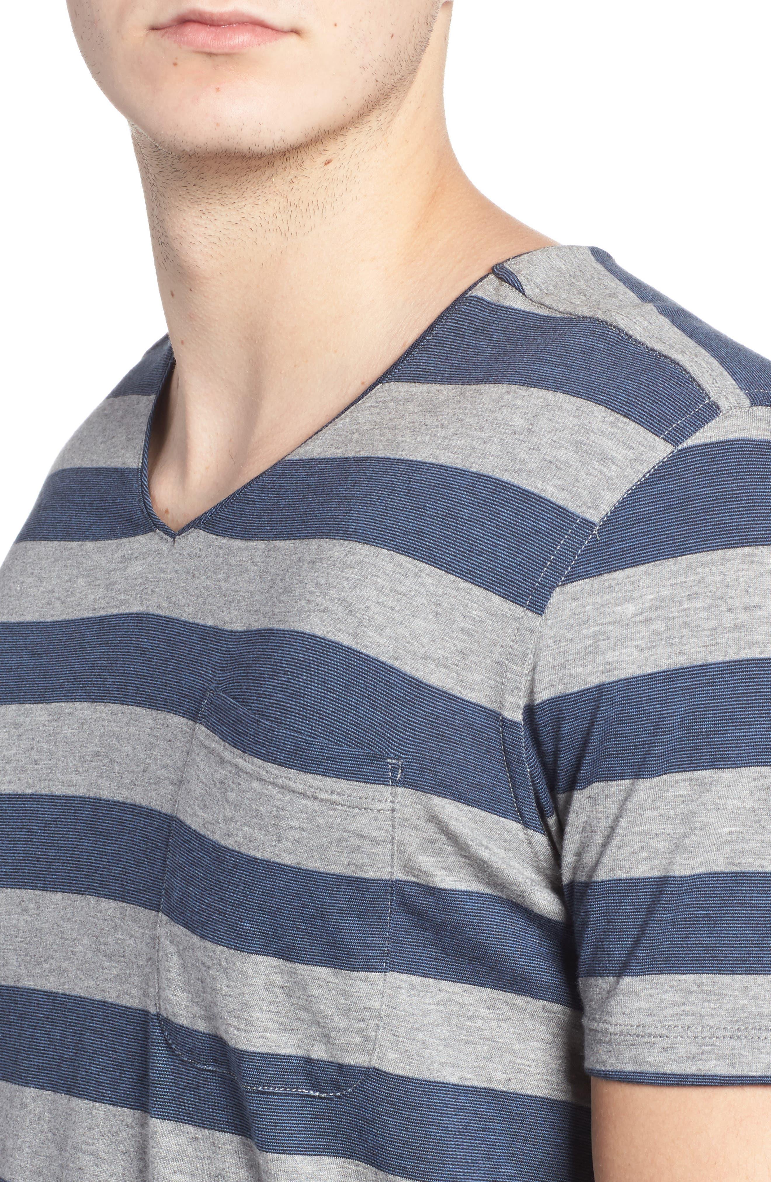 Alternate Image 4  - Daniel Buchler Stripe Pima Cotton & Modal V-Neck T-Shirt