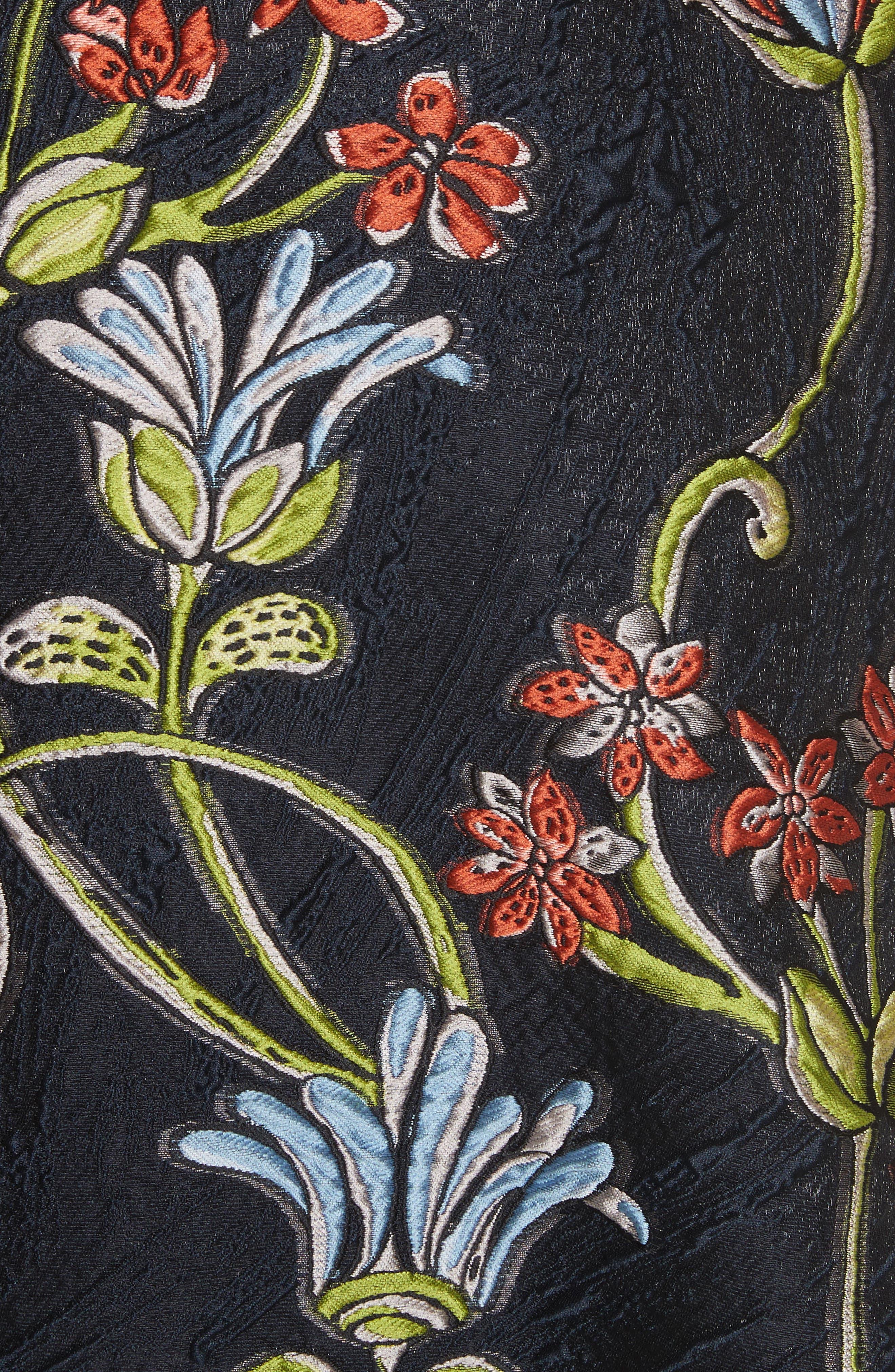 Floral Matelassé A-Line Dress,                             Alternate thumbnail 6, color,                             Navy Multi