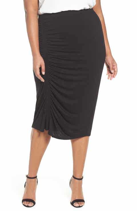 Vince Camuto Side Ruched Pencil Skirt (Plus Size)