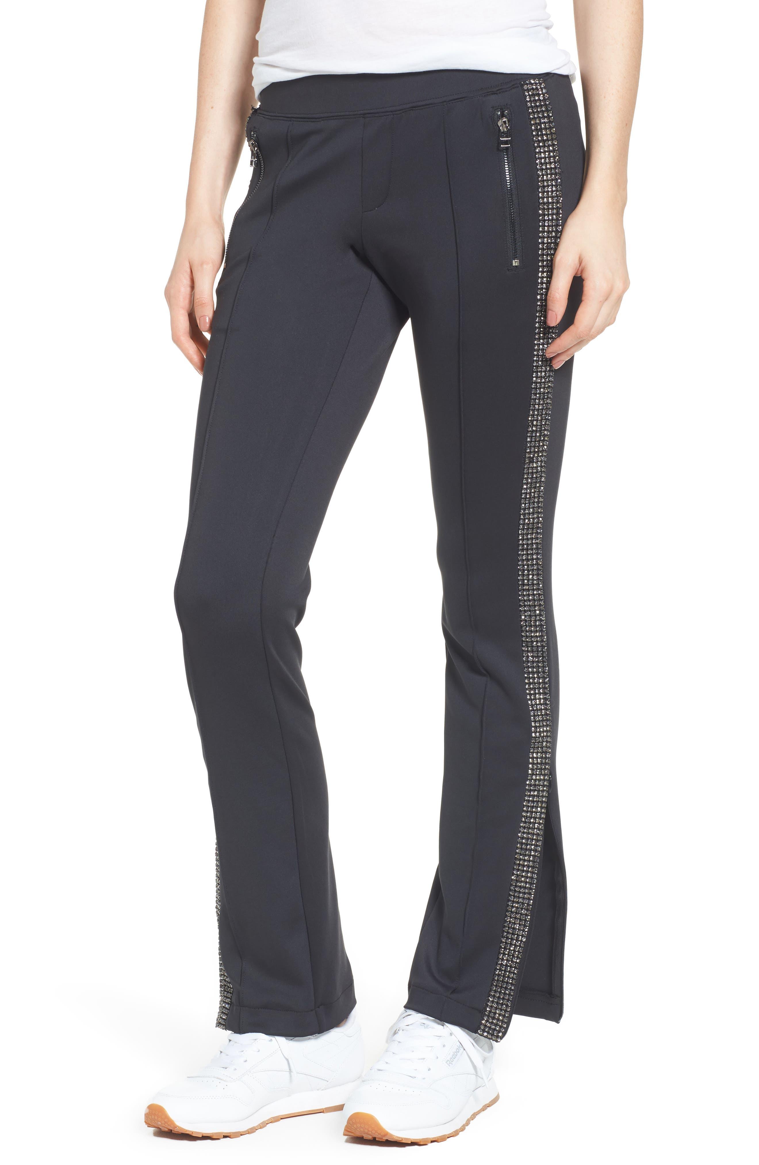 Rhinestone Side Stripe Track Pants,                             Main thumbnail 1, color,                             Black