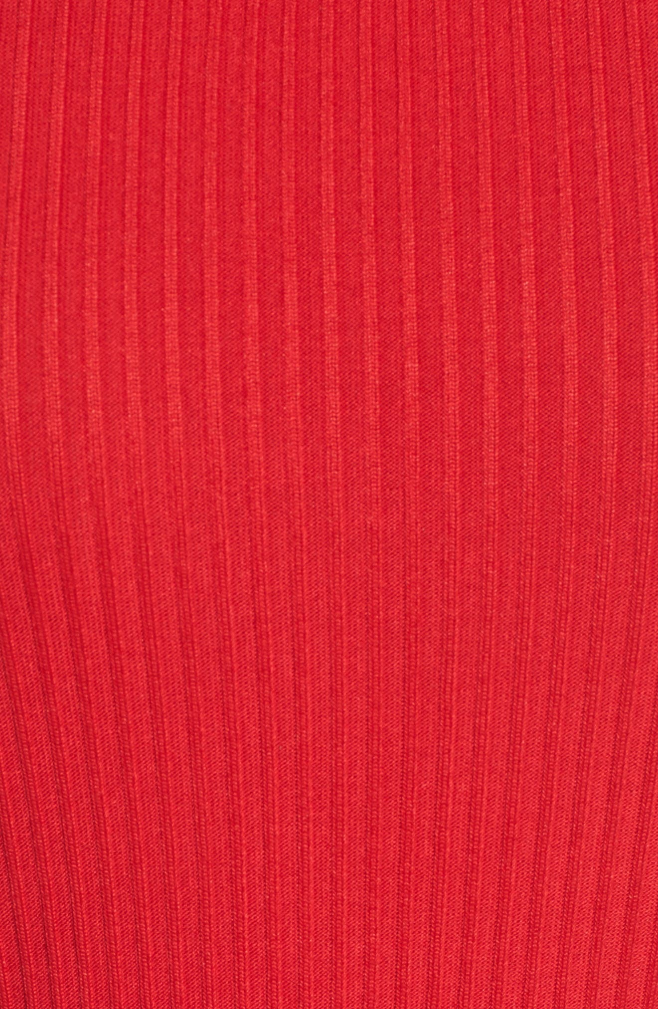Ribbed Circle Trim Body-Con Dress,                             Alternate thumbnail 5, color,                             True Red