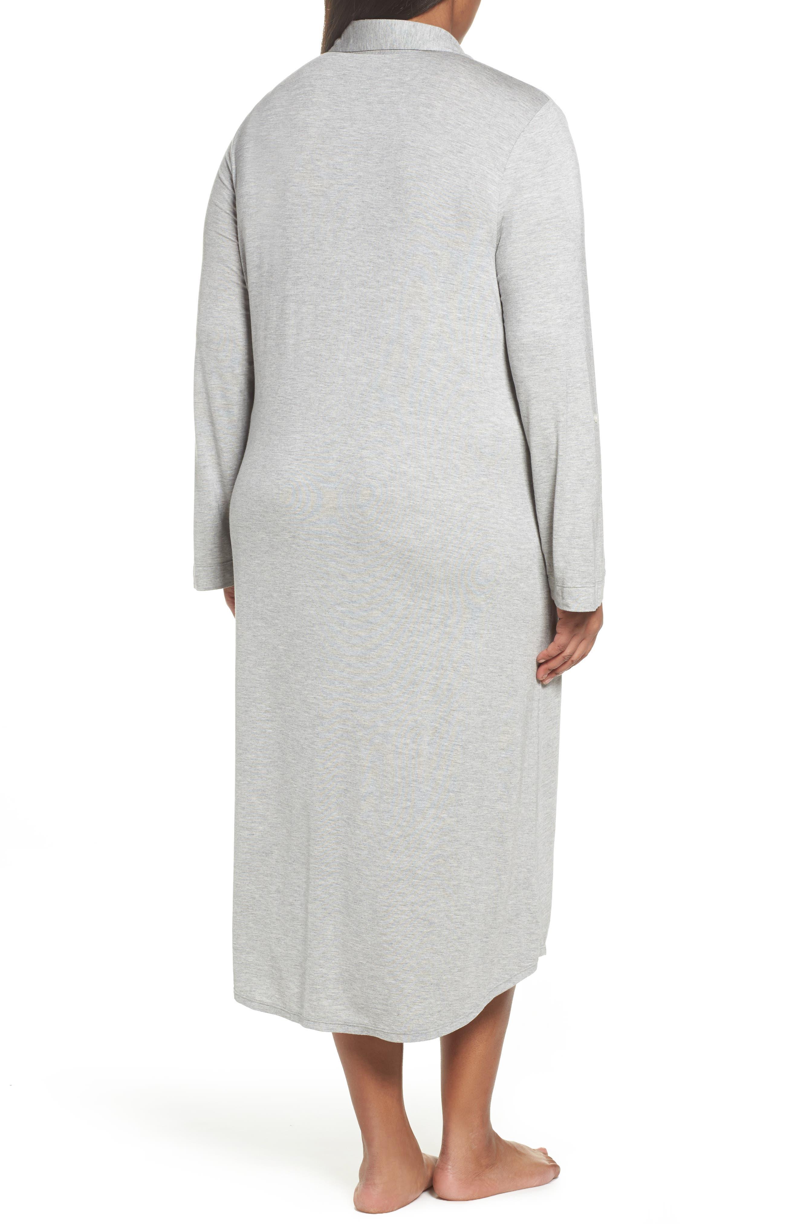Long Night Shirt,                             Alternate thumbnail 2, color,                             Heather Grey Feeder Stripe