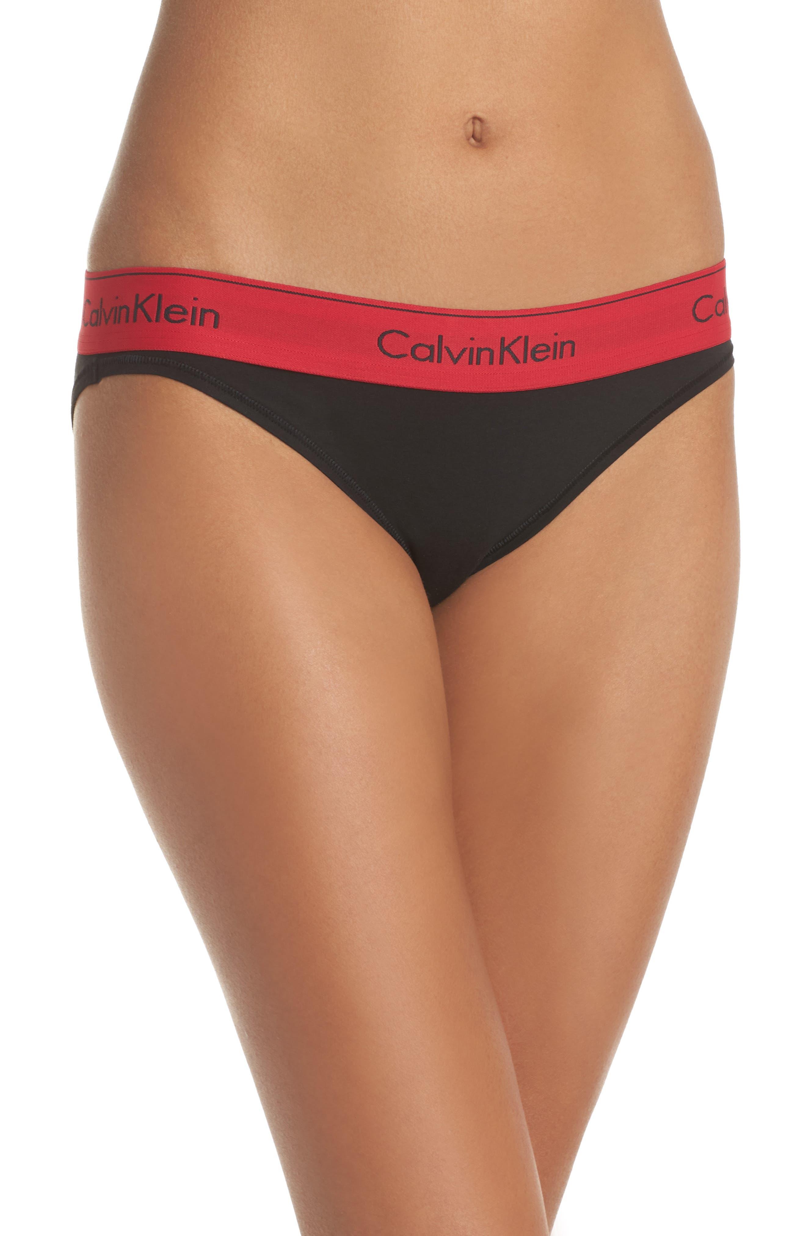 'Modern Cotton Collection' Cotton Blend Bikini,                             Main thumbnail 1, color,                             Black Empower
