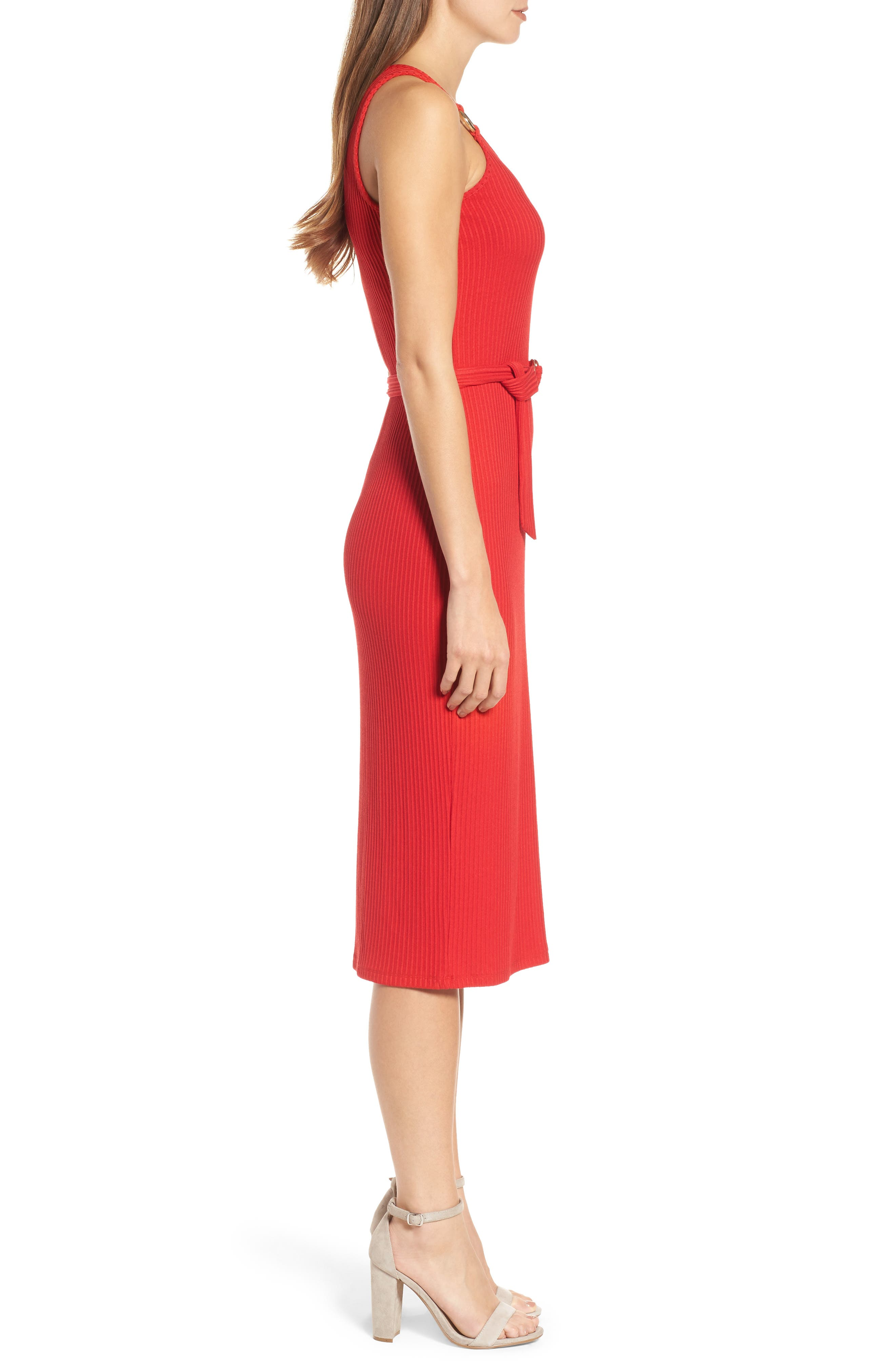 Ribbed Circle Trim Body-Con Dress,                             Alternate thumbnail 3, color,                             True Red