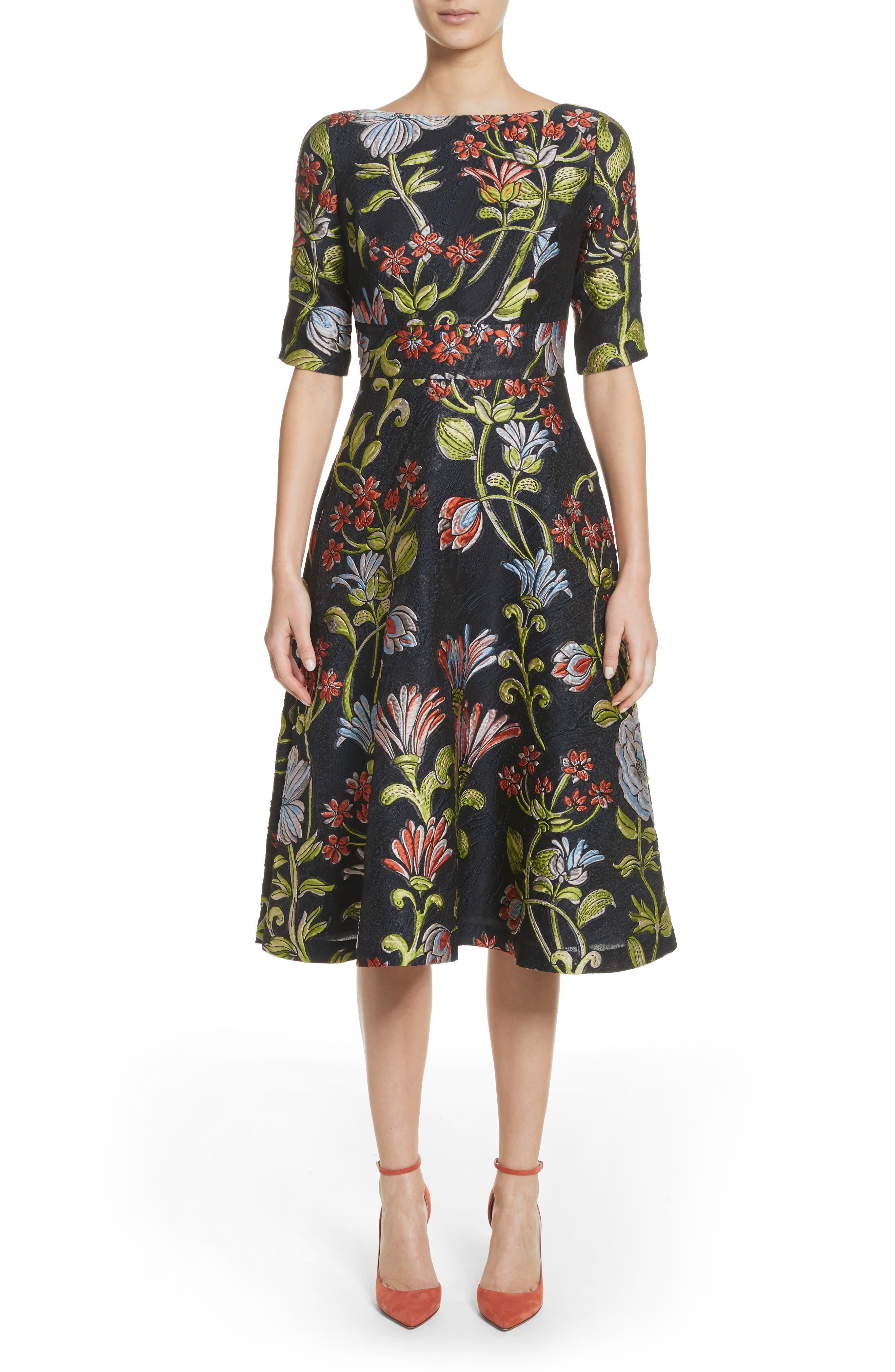 Floral Matelassé A-Line Dress,                             Main thumbnail 1, color,                             Navy Multi