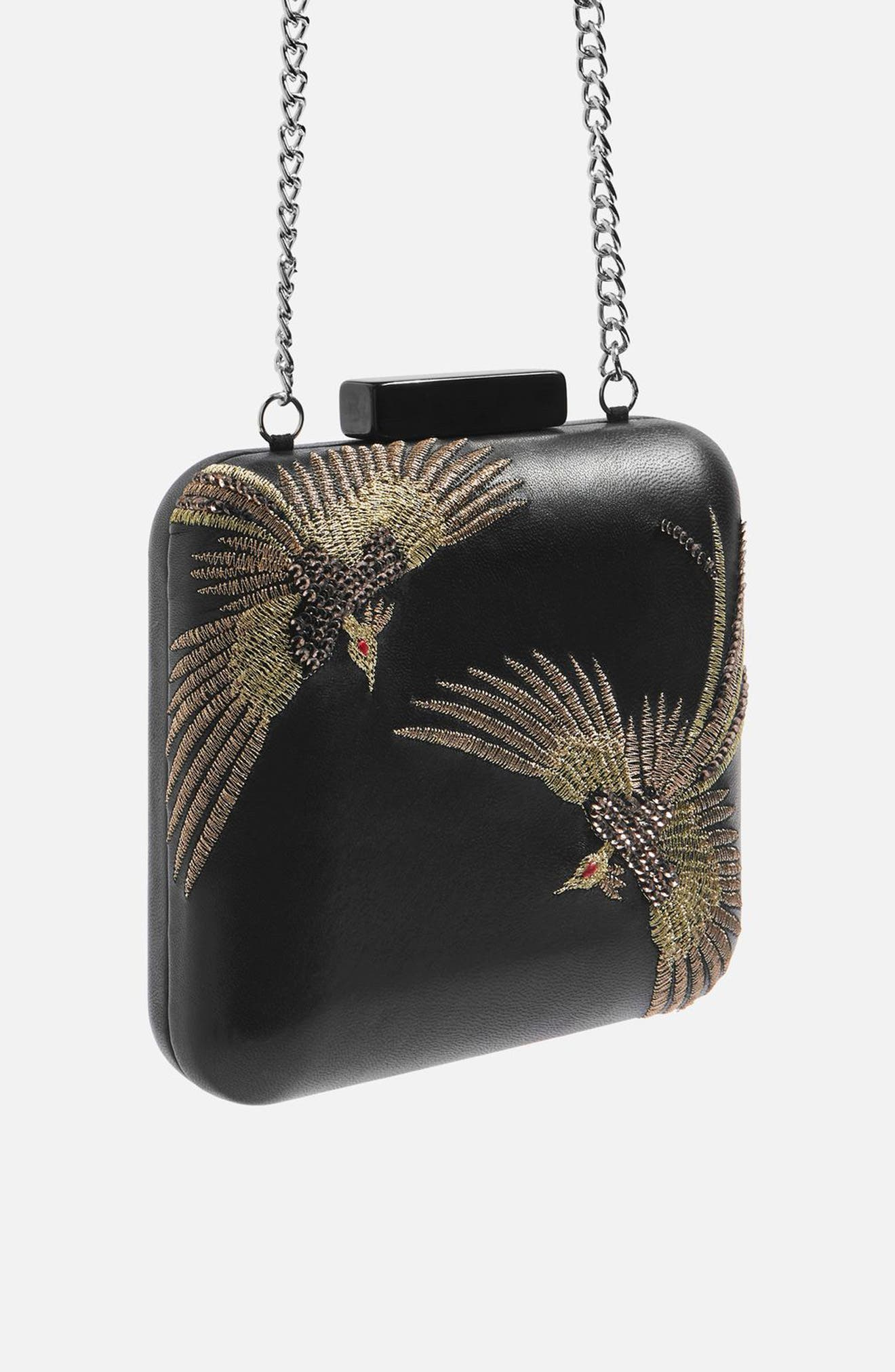 Embroidered Bird Boxy Leather Crossbody Bag,                             Alternate thumbnail 3, color,                             Black Multi