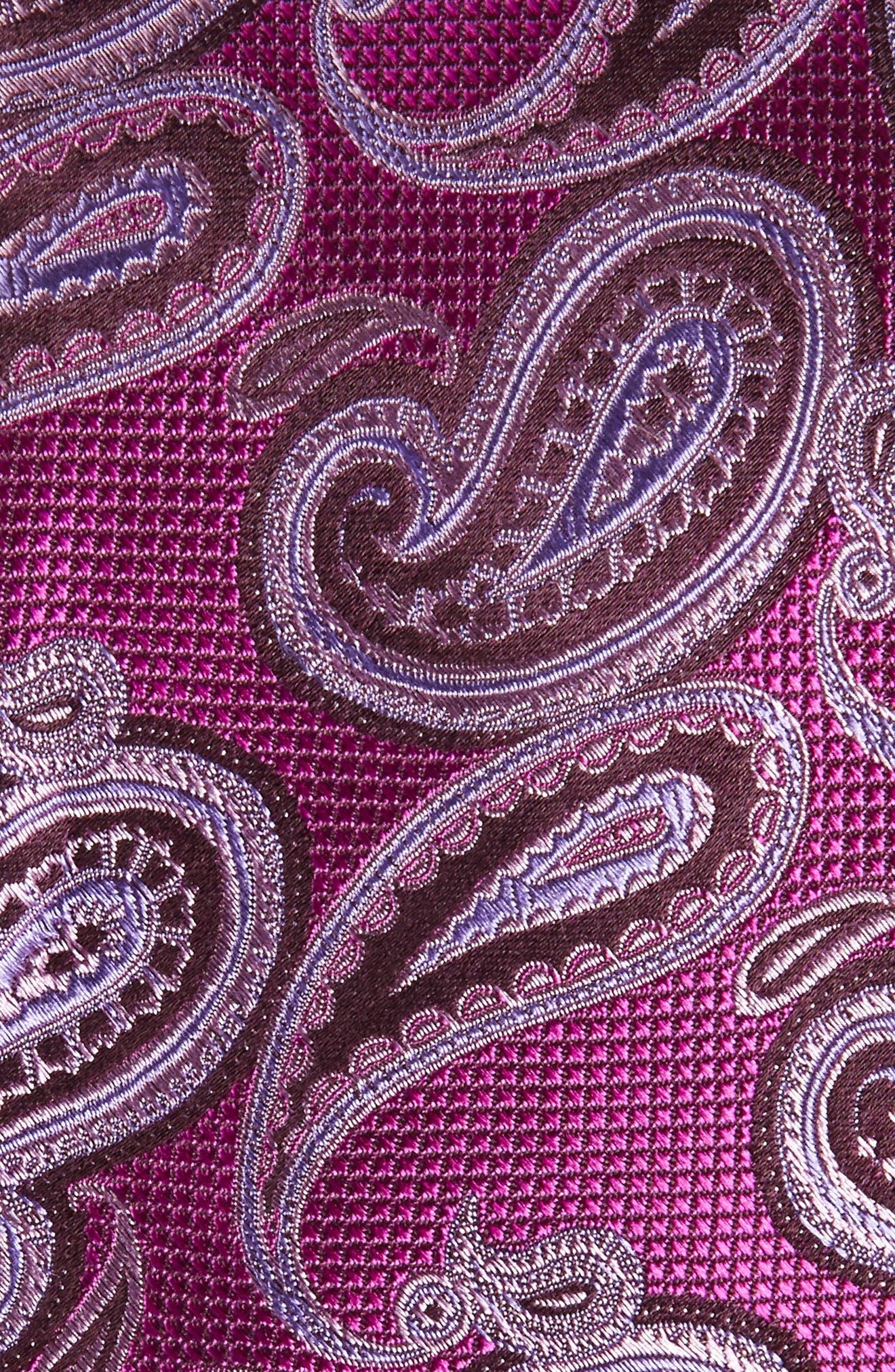 Brett Paisley Silk Tie,                             Alternate thumbnail 2, color,                             Berry