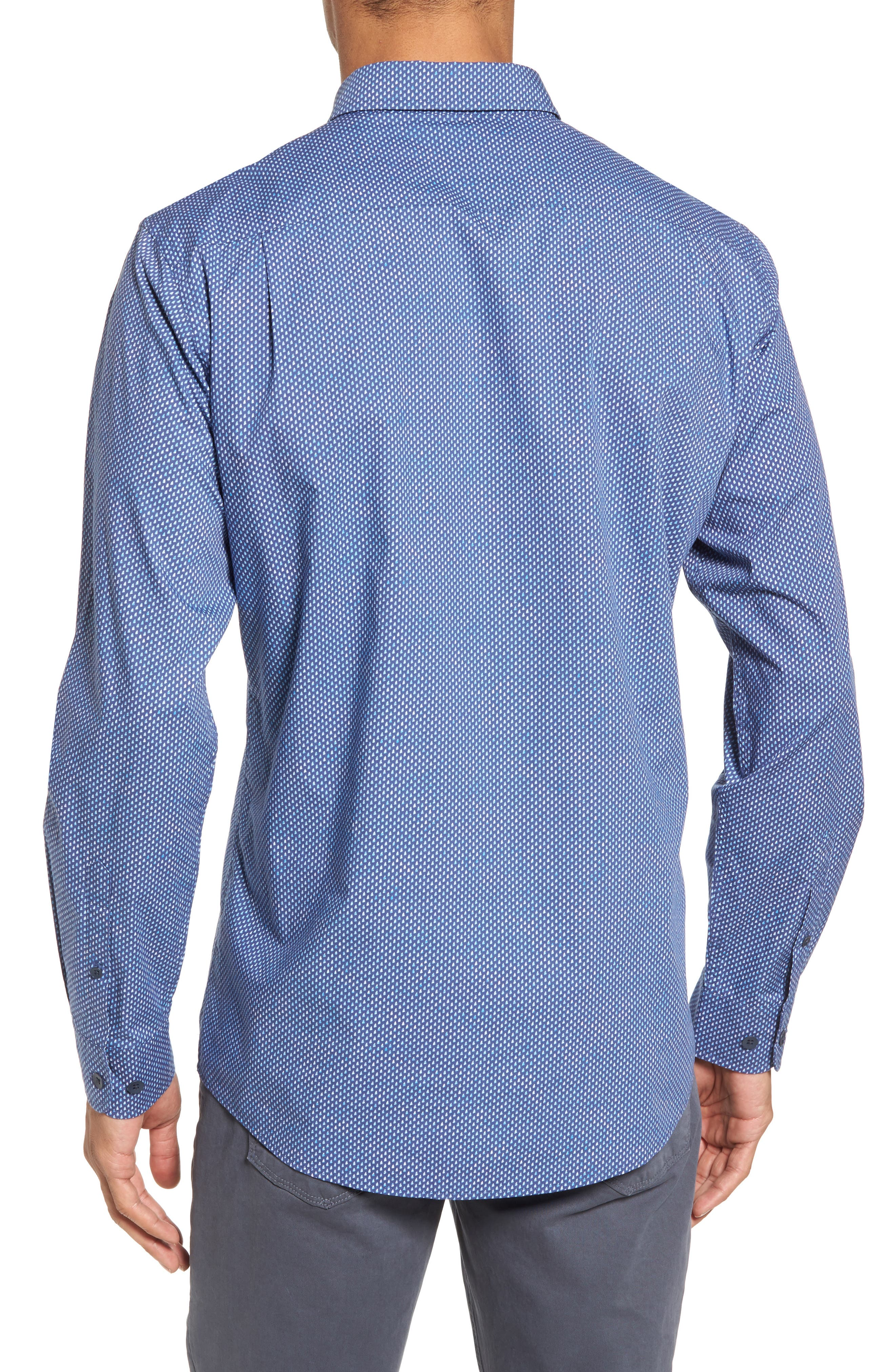 Cape Farewell Sports Fit Print Sport Shirt,                             Alternate thumbnail 2, color,                             Pacific Blue