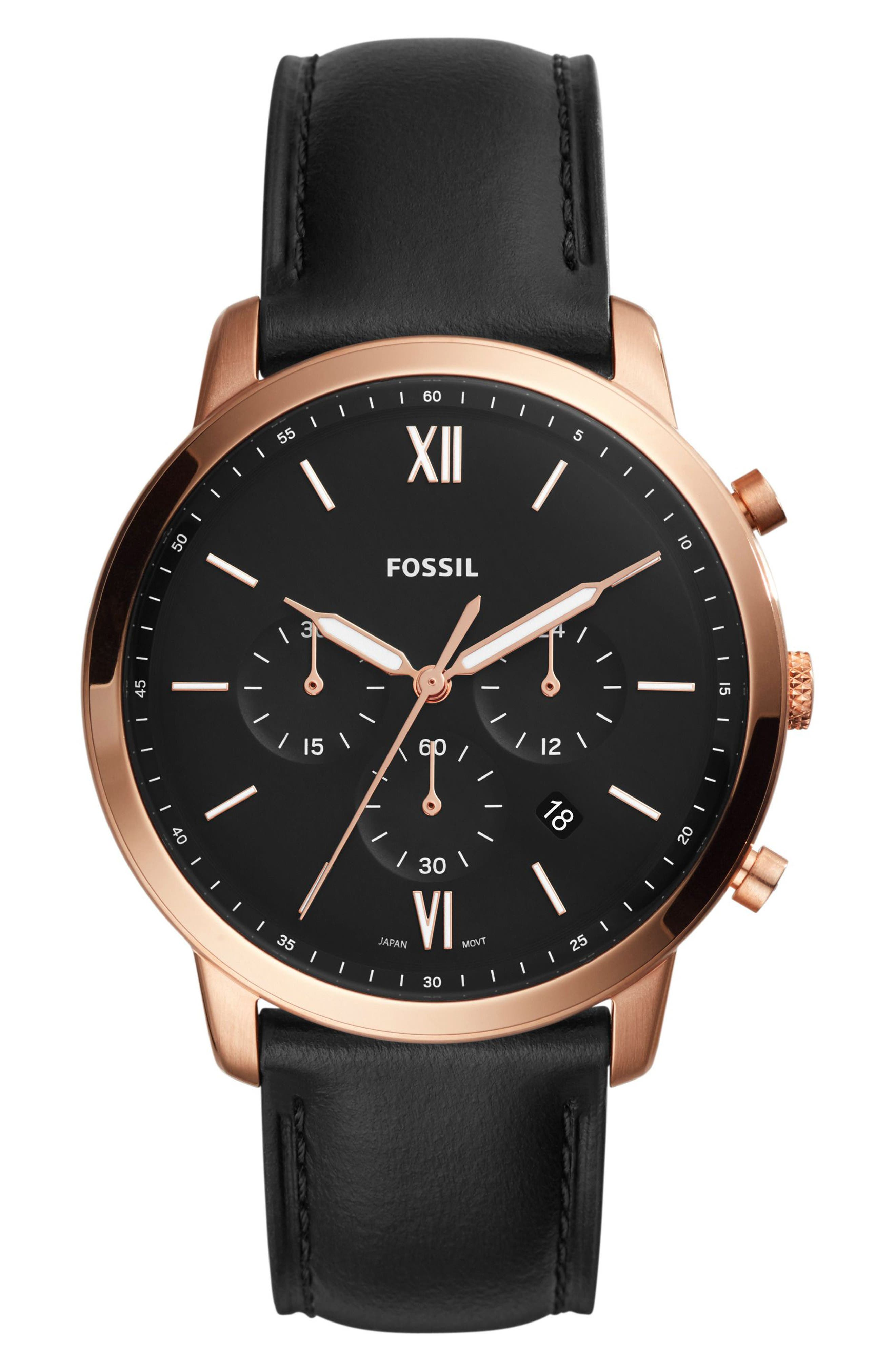 Neutra Chronograph Leather Strap Watch, 44mm,                         Main,                         color, Black/ Rose Gold