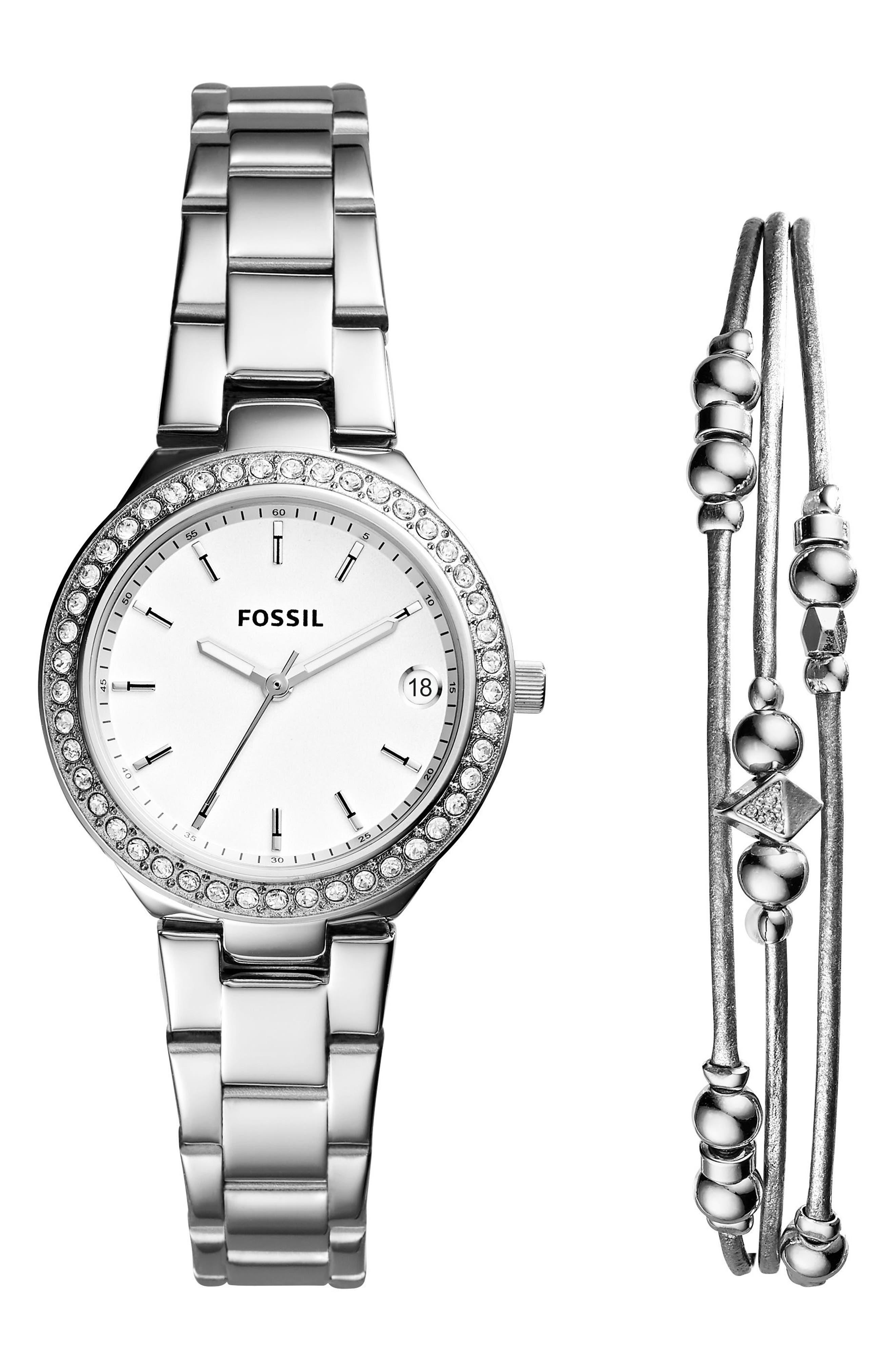 Blane Crystal Bracelet Watch & Bracelet Set, 31mm,                             Main thumbnail 1, color,                             Silver