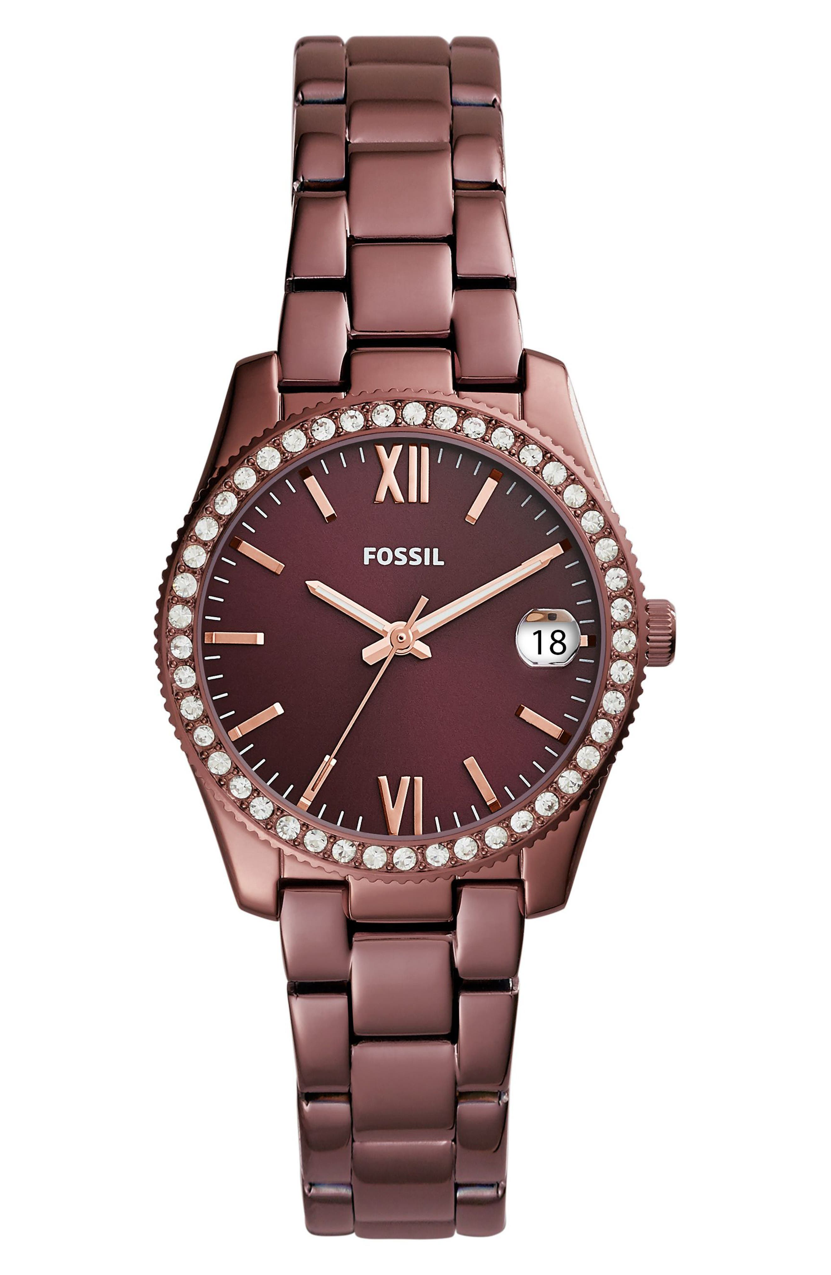 Scarlette Crystal Bracelet Watch, 32mm,                             Main thumbnail 1, color,                             Red