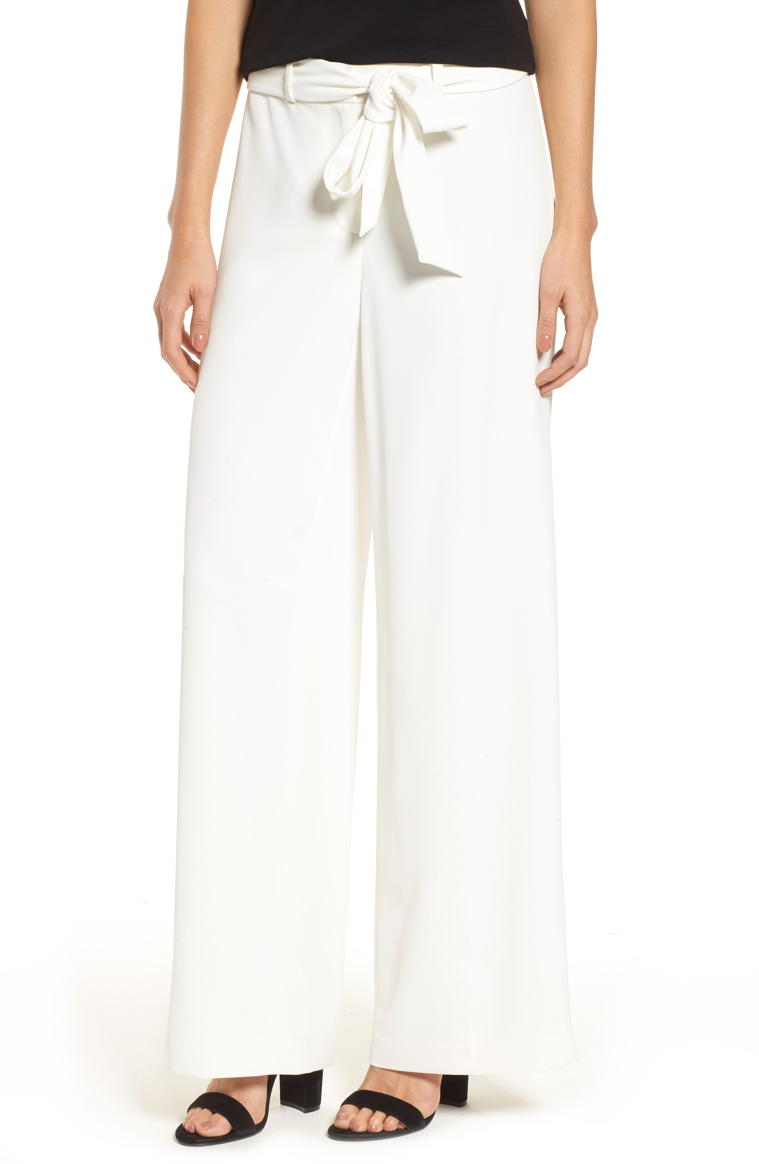 Tie Front Wide Leg Pants,                             Main thumbnail 1, color,                             New Ivory