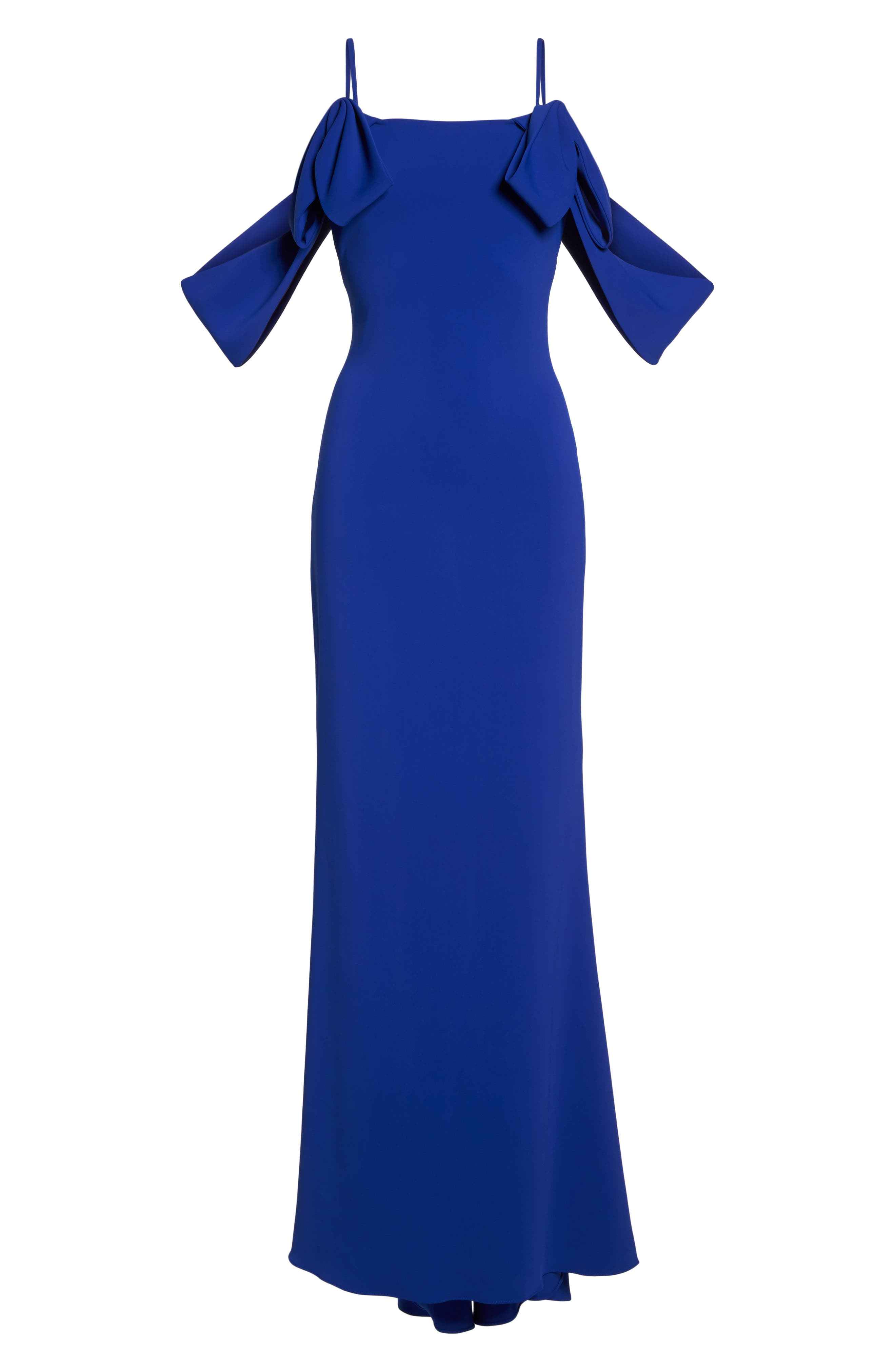 Ribbon Sleeve Cold Shoulder Gown,                             Alternate thumbnail 6, color,                             Electric Blue