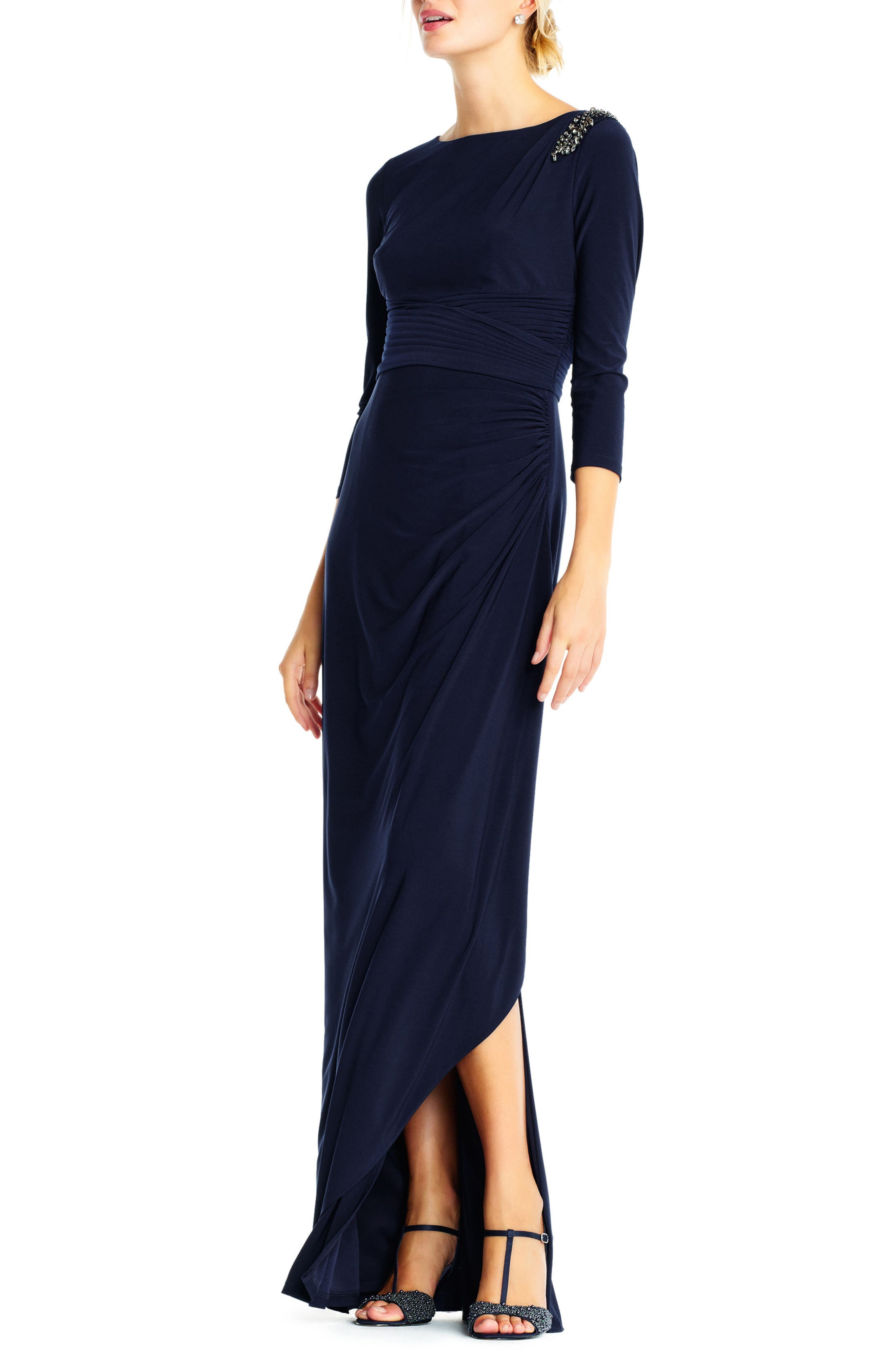 Jewel Shoulder Jersey Gown,                             Alternate thumbnail 3, color,                             Midnight