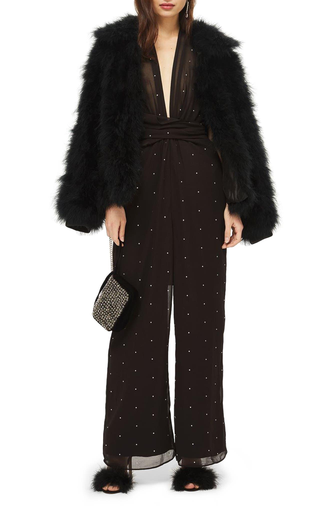 Crystal Embellished Halter Jumpsuit,                         Main,                         color, Black