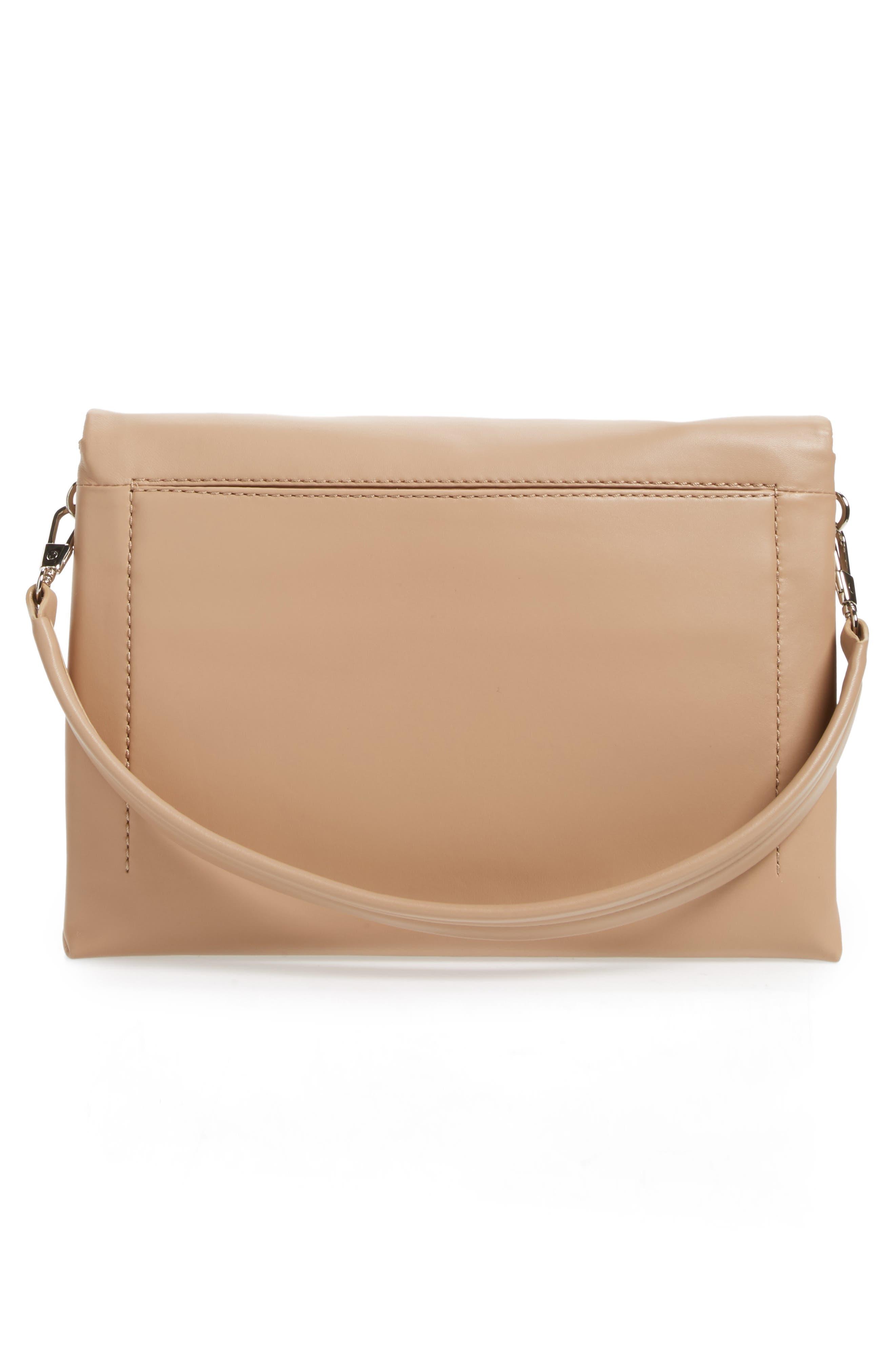 Oversized Alix Flap Leather Shoulder Bag,                             Alternate thumbnail 3, color,                             Fawn