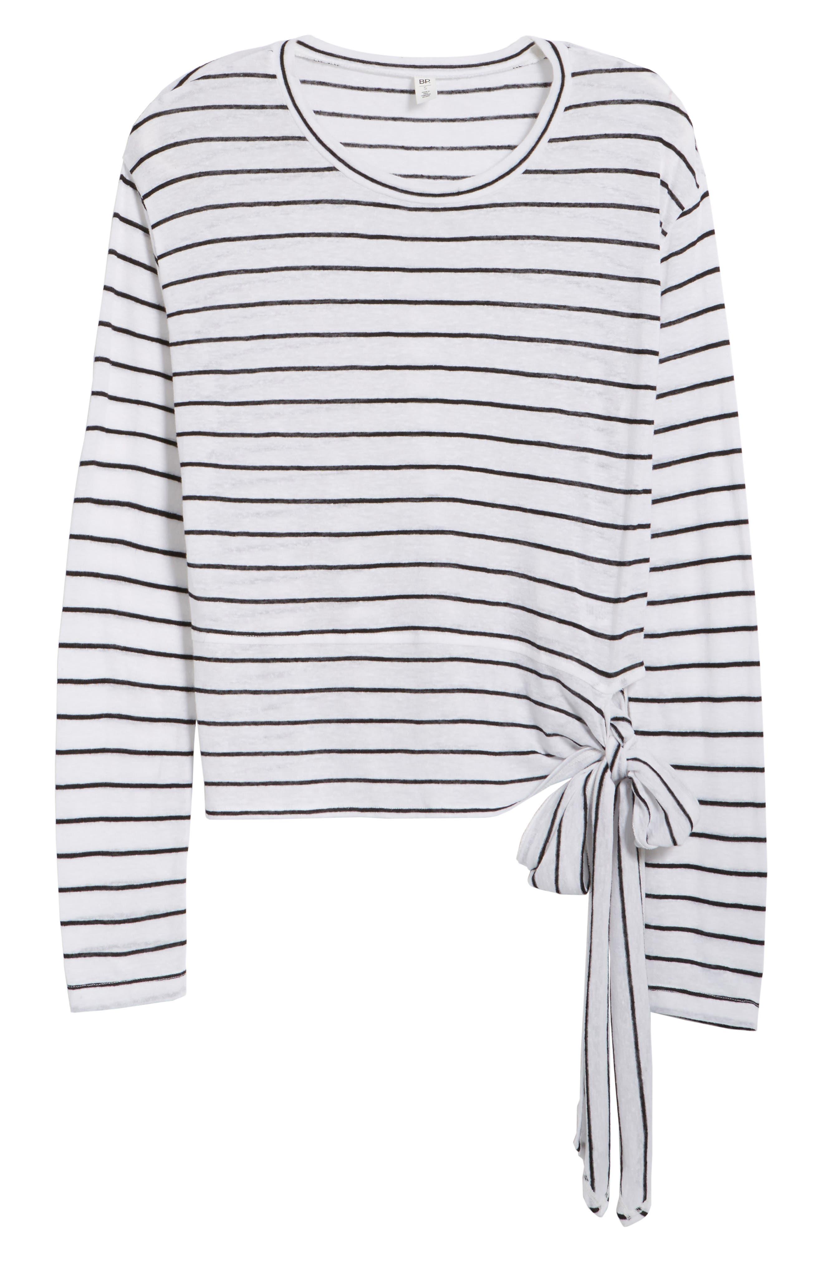 Side Tie Stripe Tee,                             Alternate thumbnail 6, color,                             White Jenna Stripe