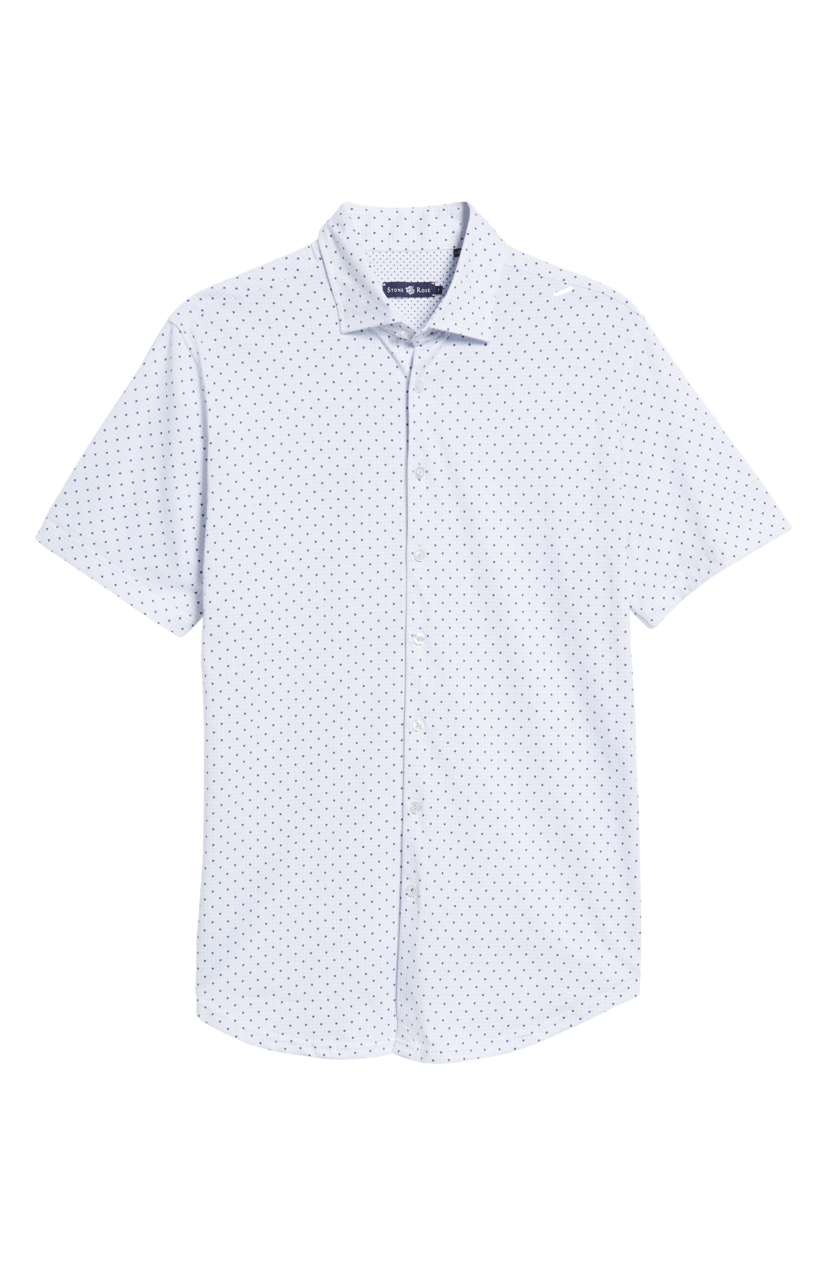 Alternate Image 6  - Stone Rose Trim Fit Polka Dot Check Sport Shirt