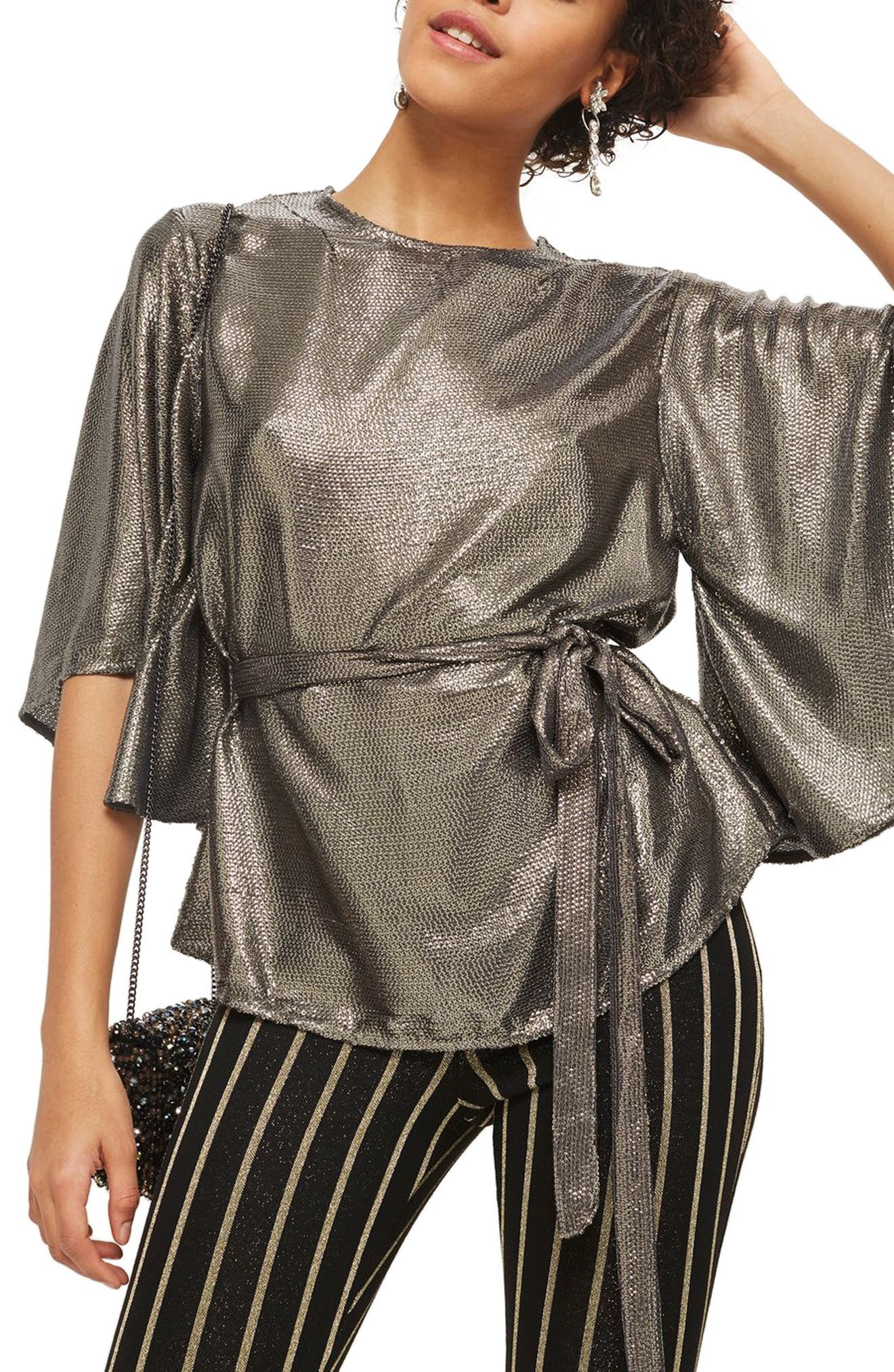 Angel Sleeve Sequin Blouse,                         Main,                         color, Silver