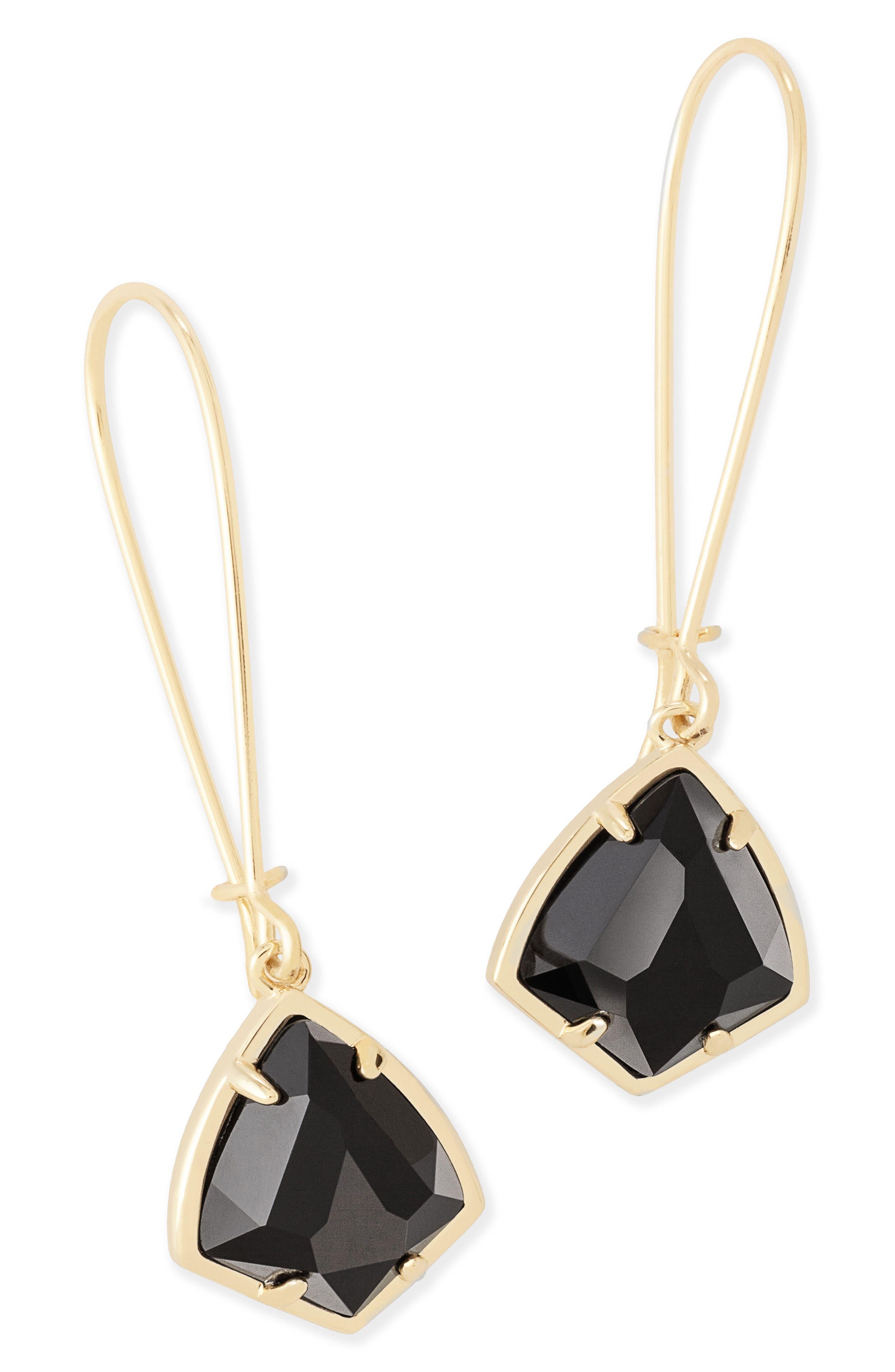 'Carrine' Semiprecious Stone Drop Earrings,                             Alternate thumbnail 2, color,                             Black/ Gold