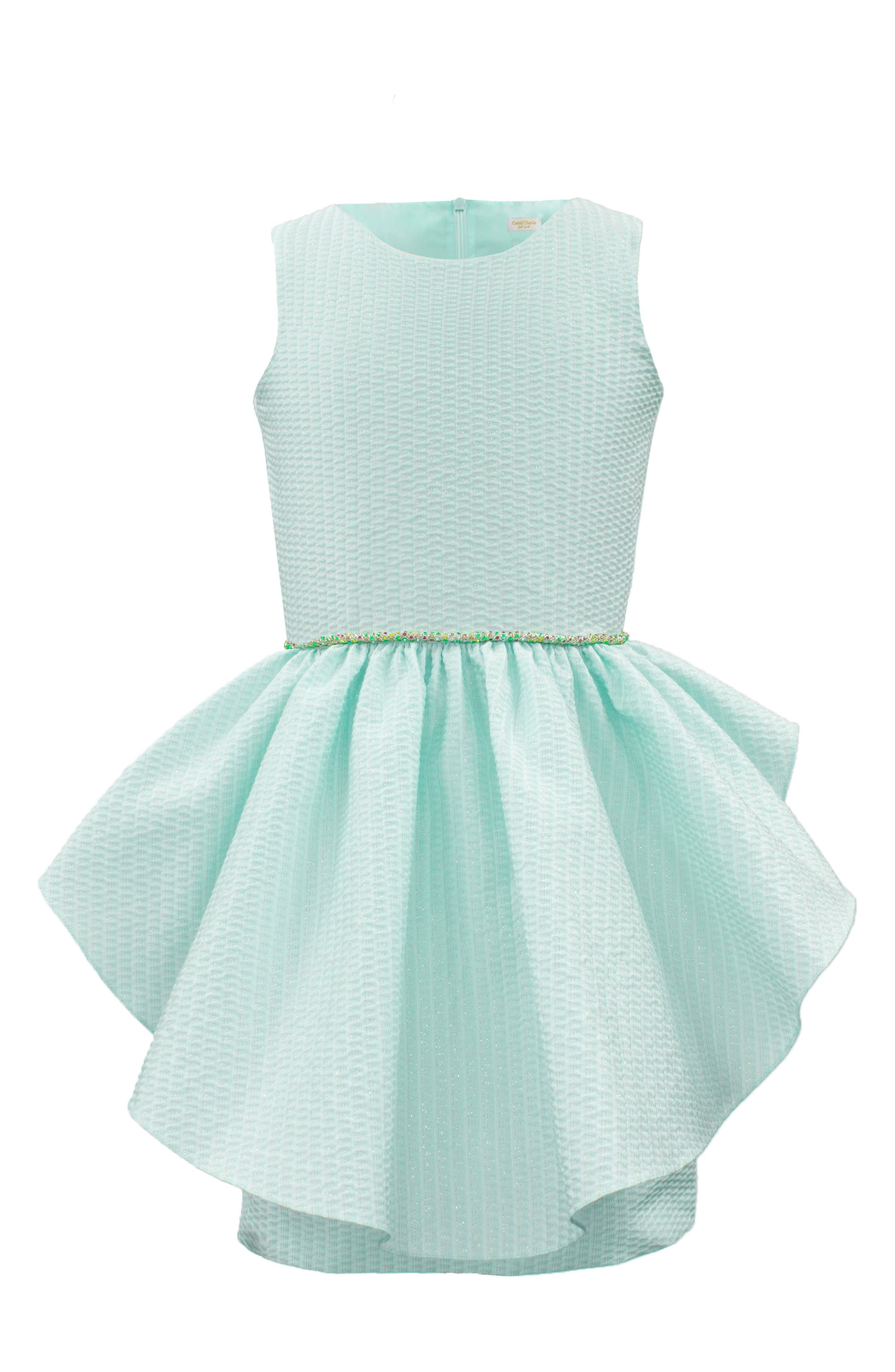 Ruffle Overlay Brocade Dress,                         Main,                         color, Turquoise