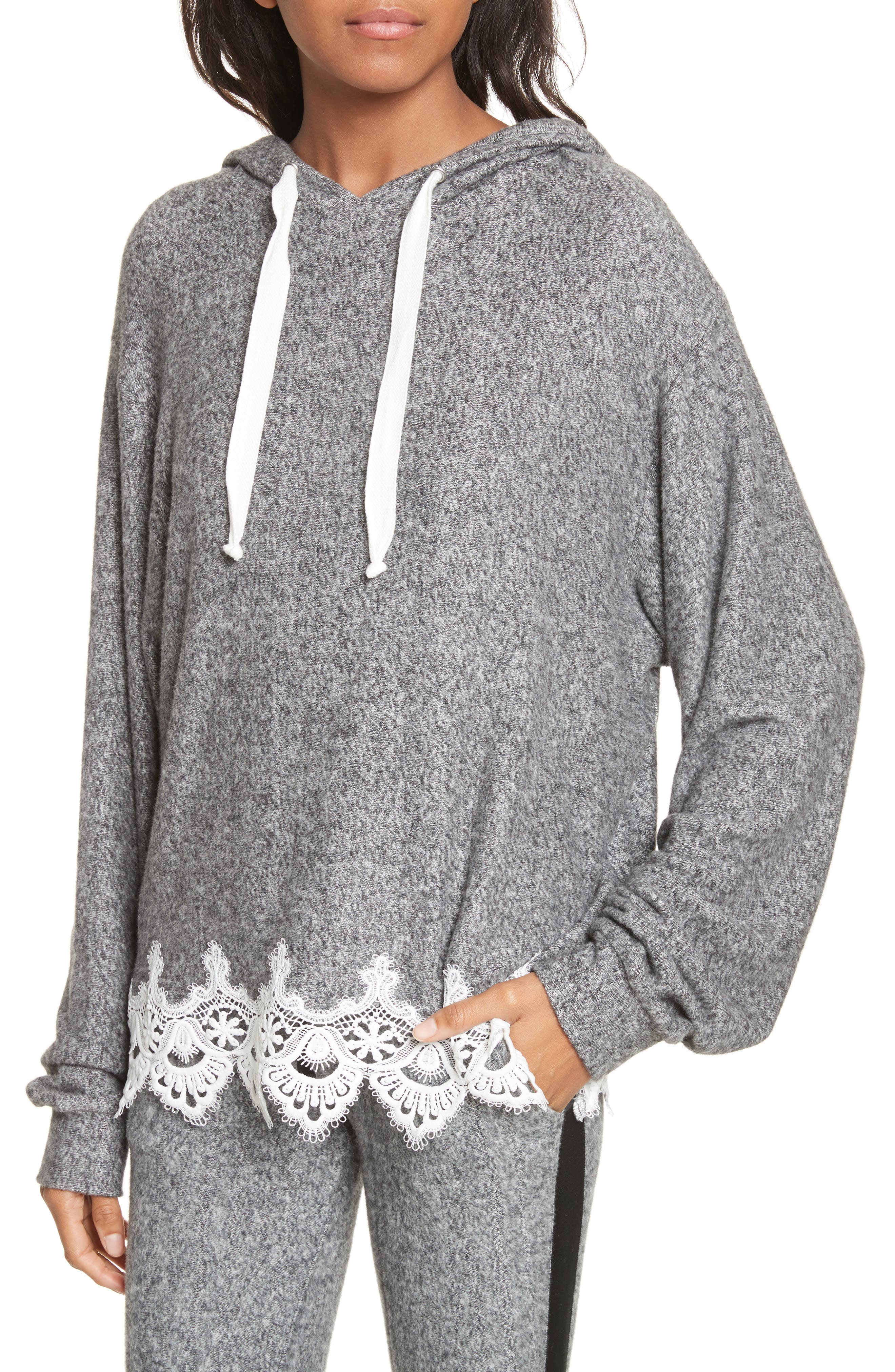 Lace Hem Hoodie,                             Alternate thumbnail 4, color,                             Grey