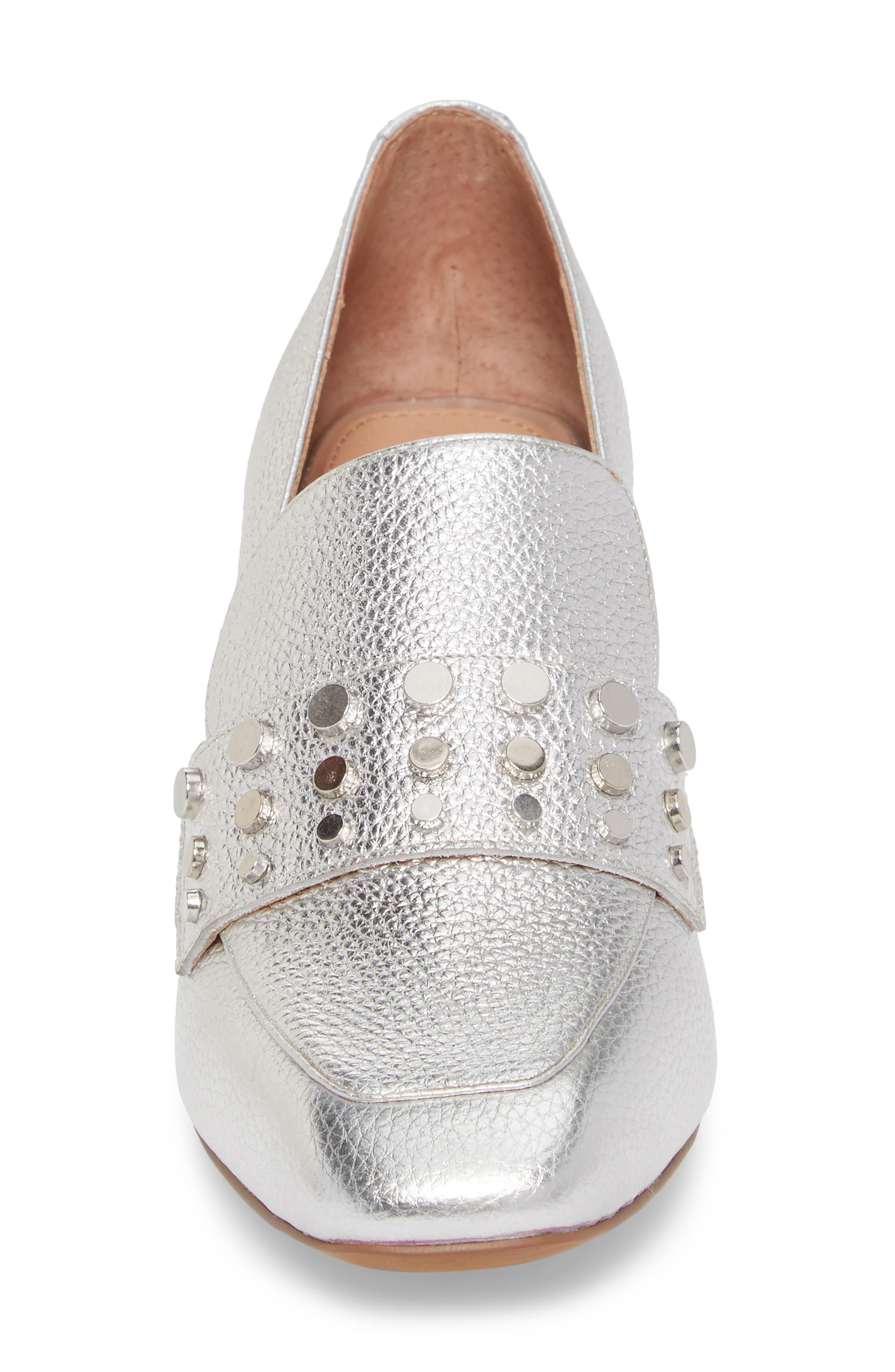 Luca Studded Pump,                             Alternate thumbnail 4, color,                             Silver Leather