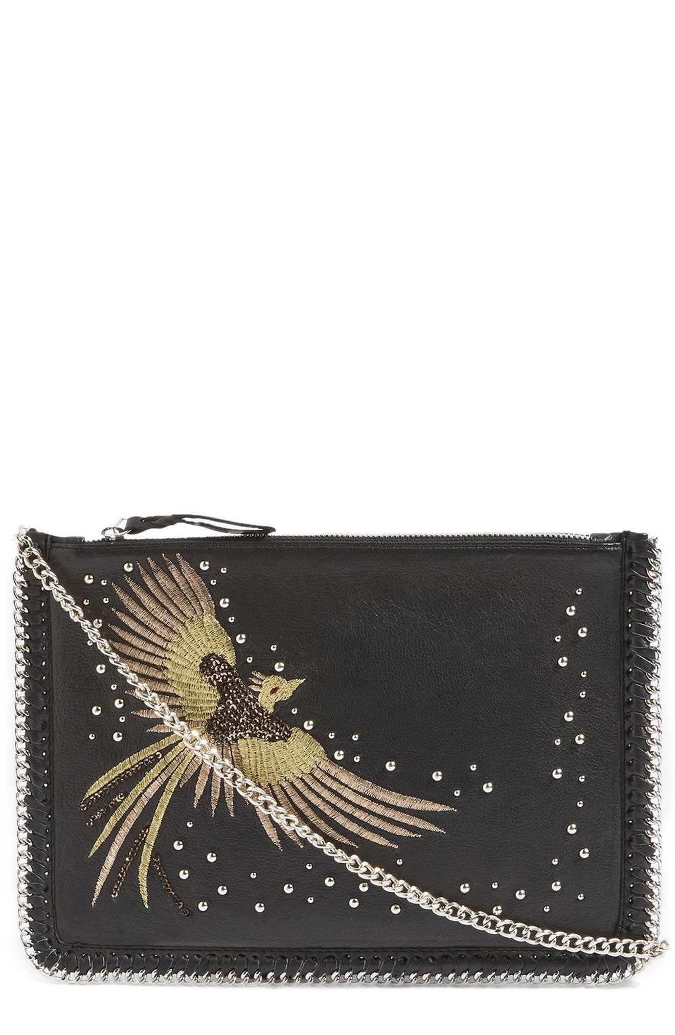New Ava Bird Leather Crossbody Bag,                         Main,                         color, Black Multi