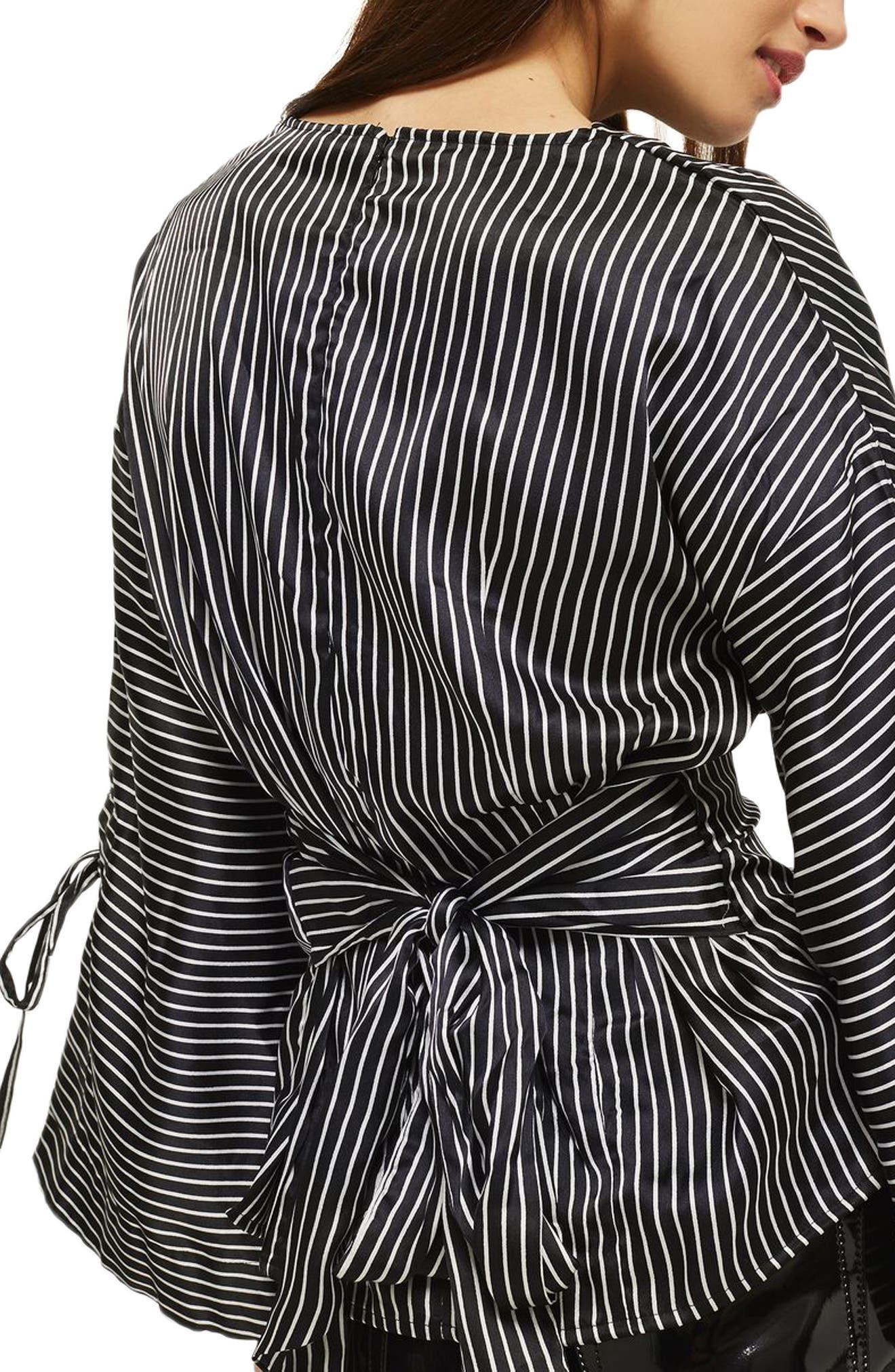 Drape Neck Twisted Stripe Blouse,                             Alternate thumbnail 2, color,                             Black Multi