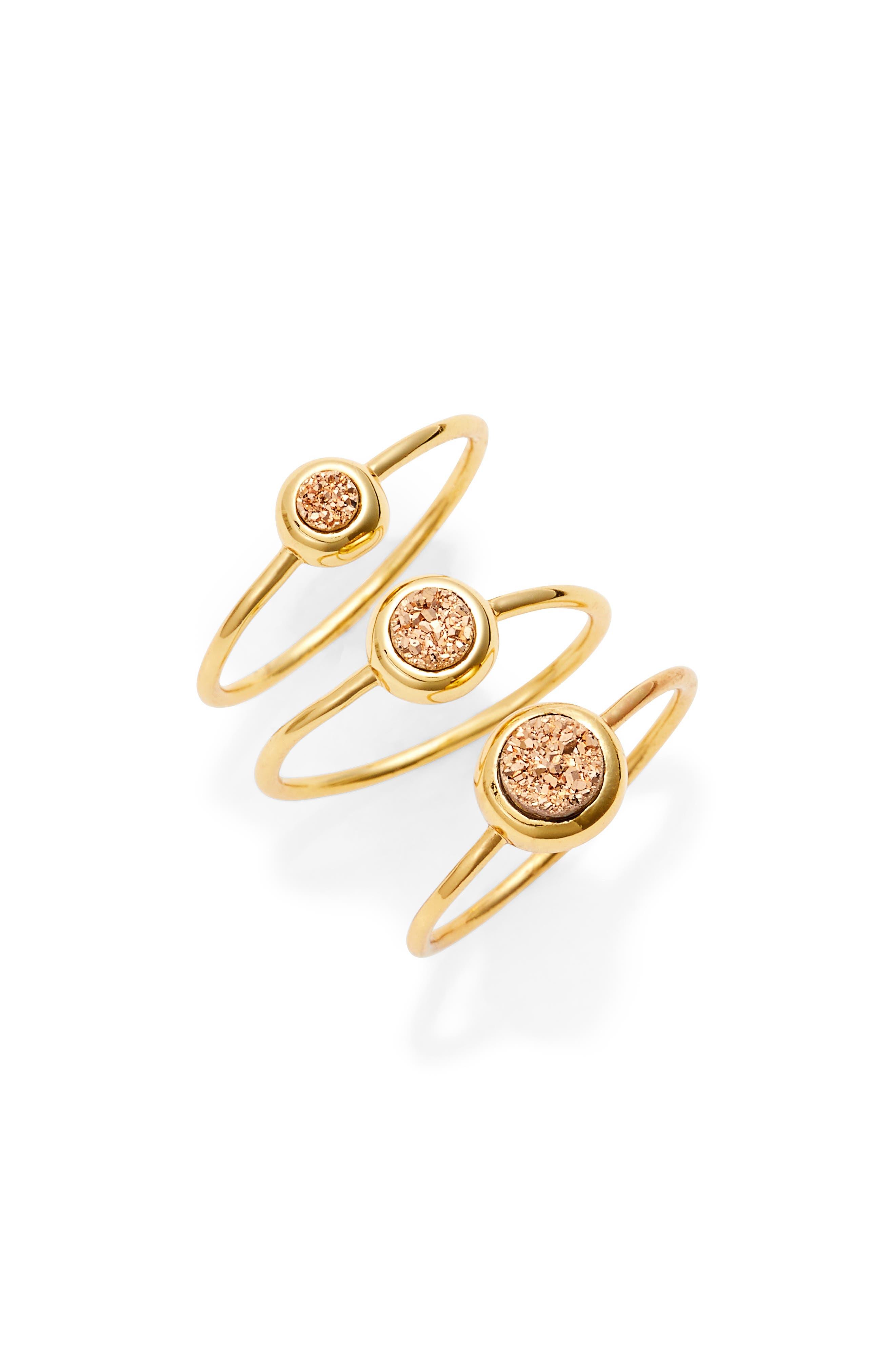gorjana Astoria Drusy Set of 3 Rings