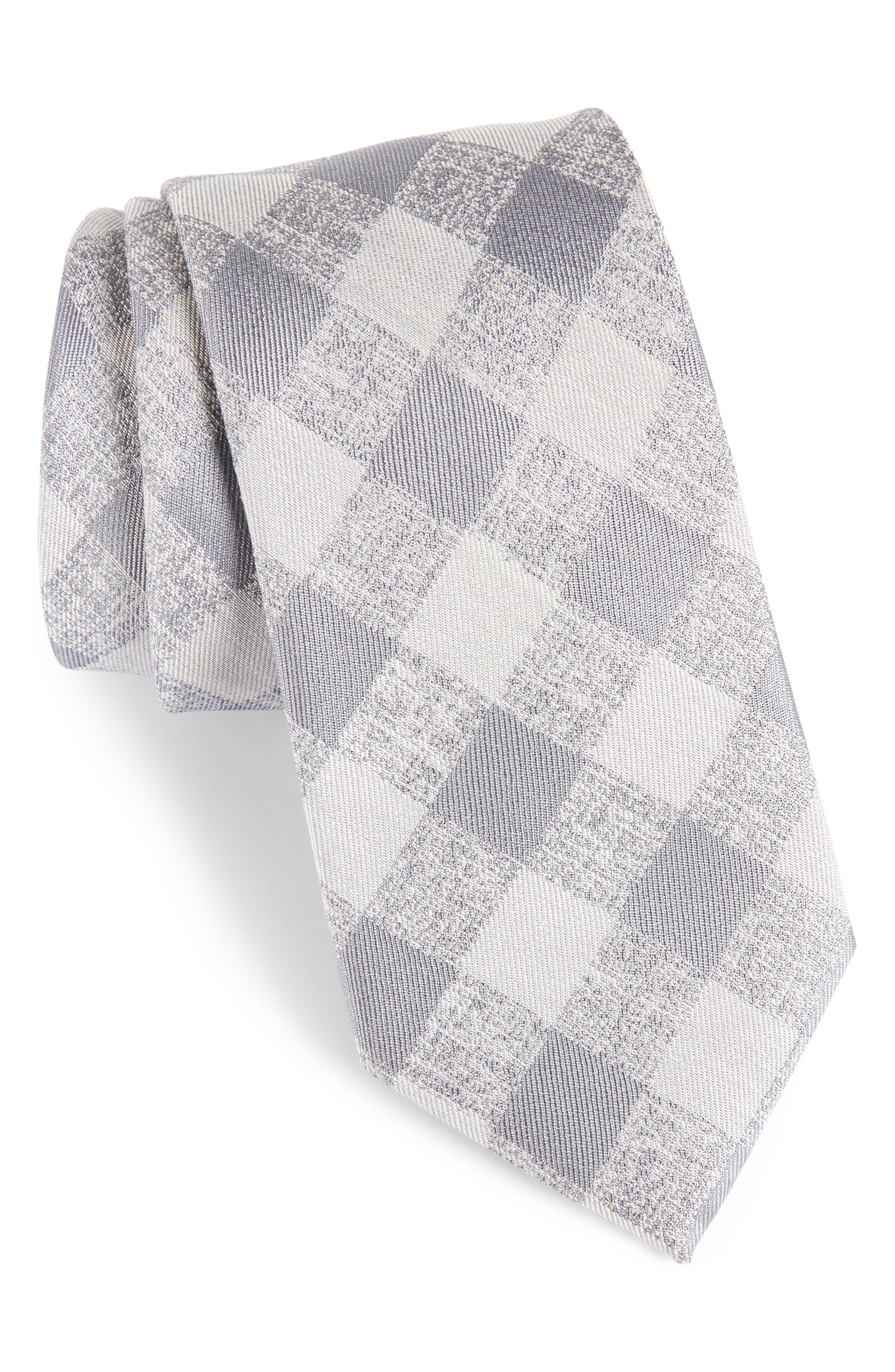 Tigrane Check Silk & Cotton Tie,                             Main thumbnail 1, color,                             Grey