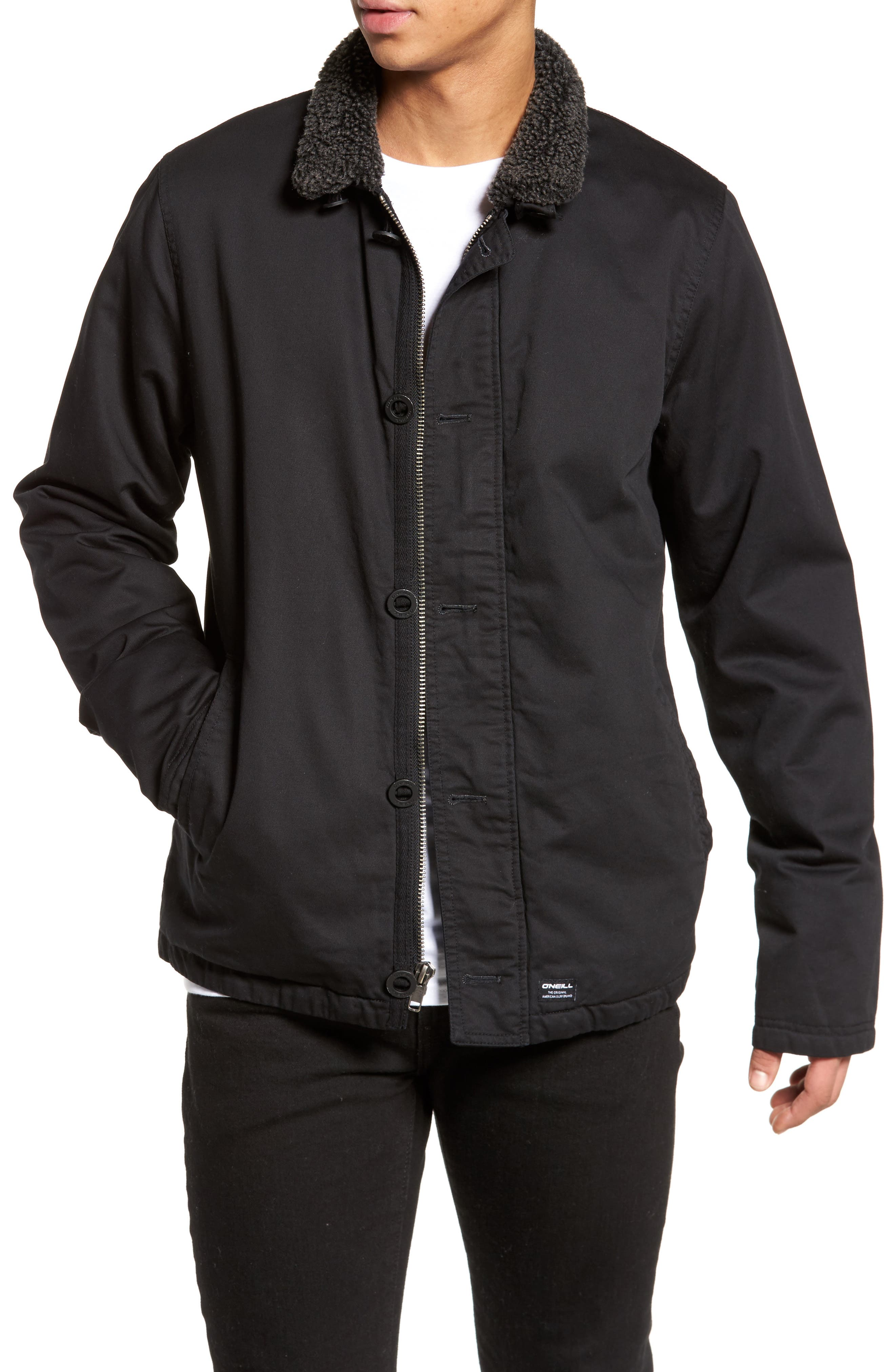 Burnside Faux Shearling Trim Deck Jacket,                         Main,                         color, Black