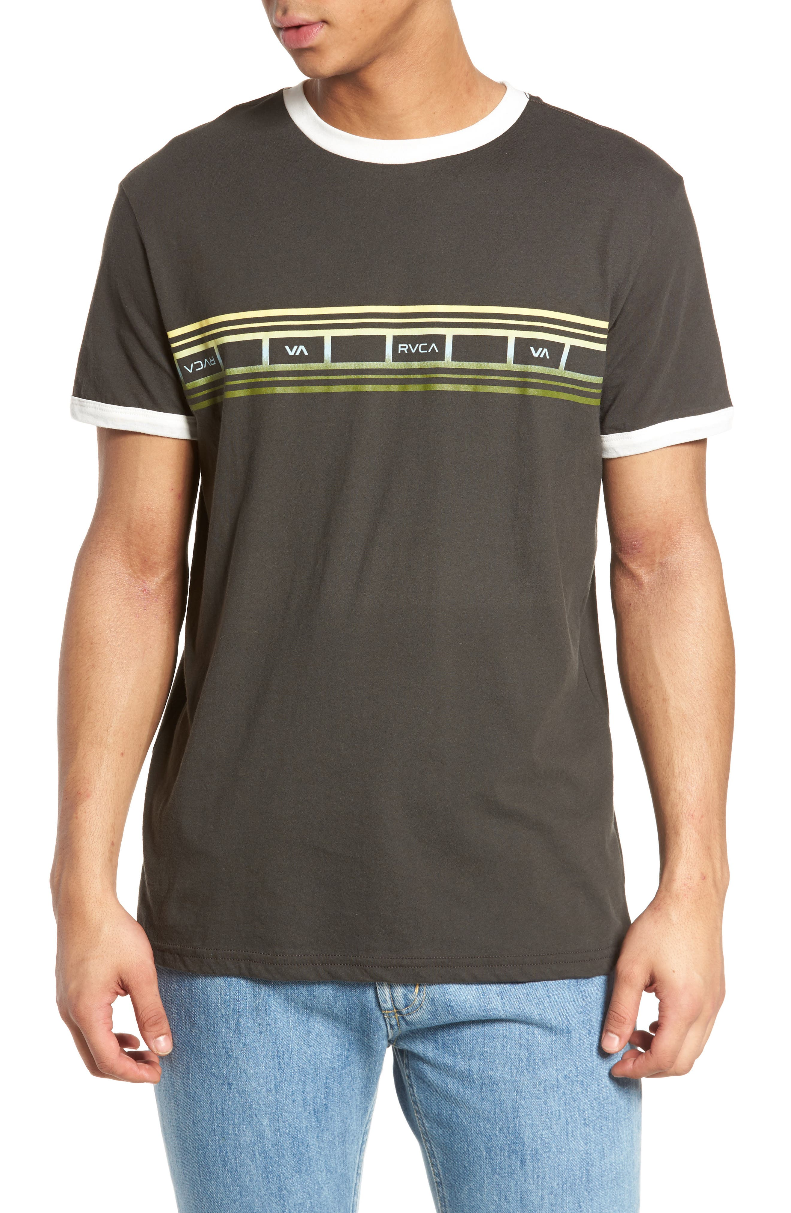 Alternate Image 1 Selected - RVCA Fade Stripe Ringer T-Shirt