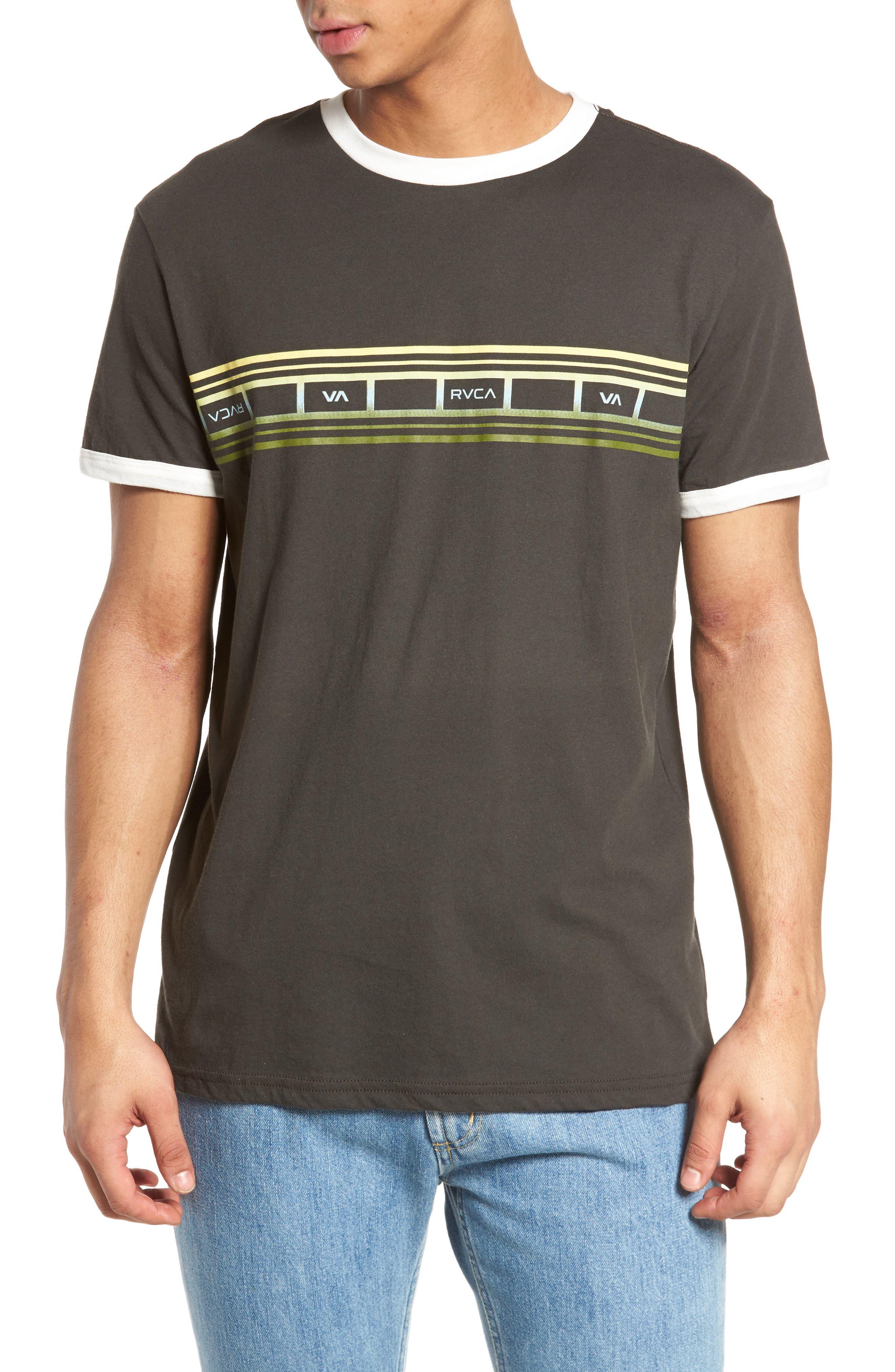 Fade Stripe Ringer T-Shirt,                         Main,                         color, Pirate Black